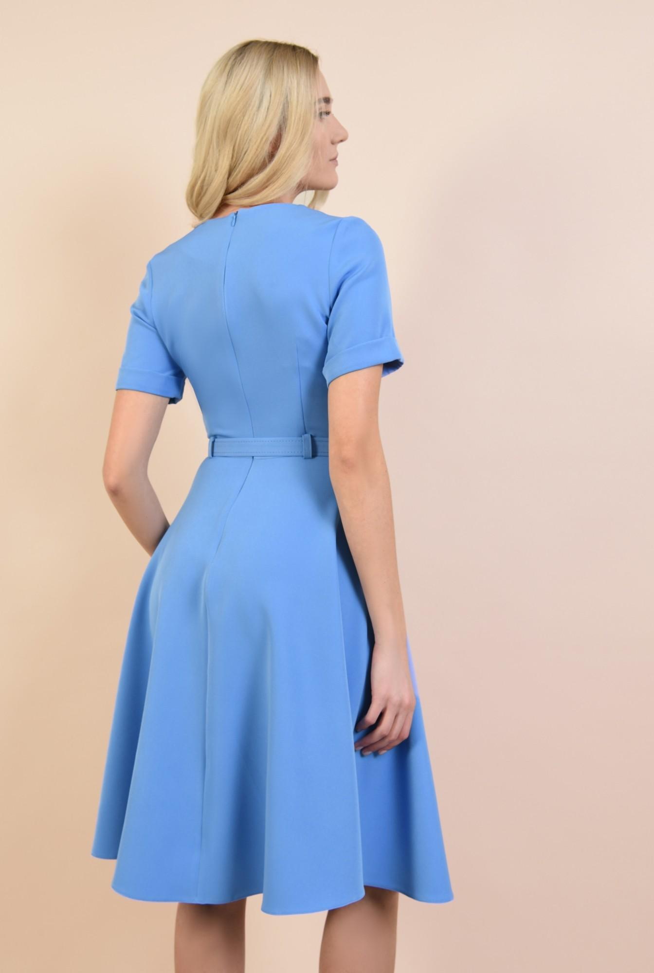 1 - rochie office, clos, bleu, midi, cu centura subtire, maneci scurte cu manseta