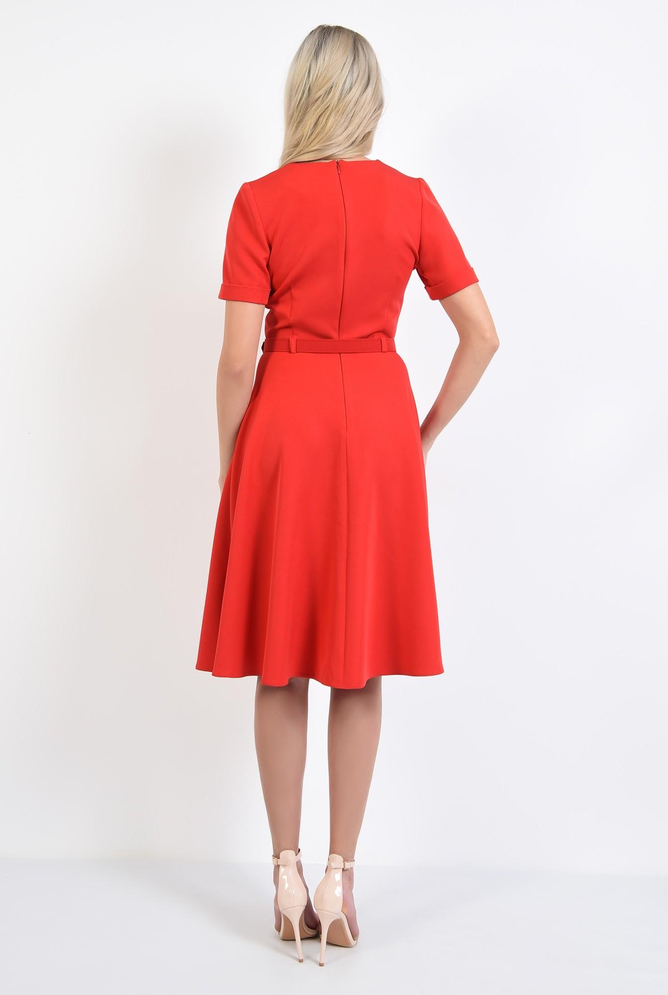 1 - rochie office, rosie, evazata, cu maneci scurte, fermoar la spate
