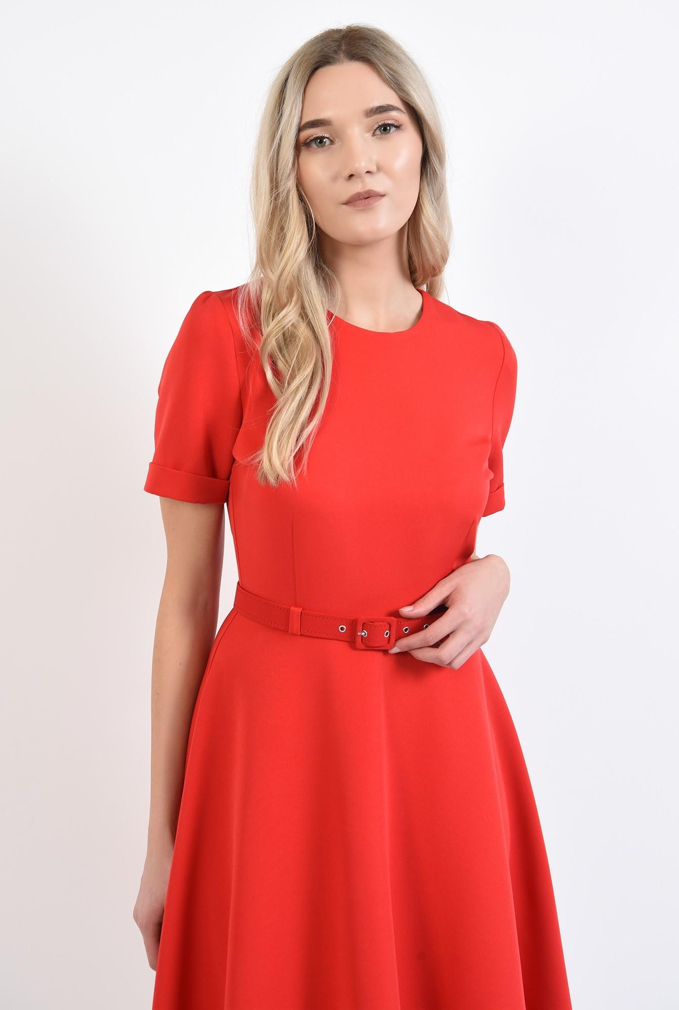 2 - rochie office, rosie, evazata, cu maneci scurte, fermoar la spate