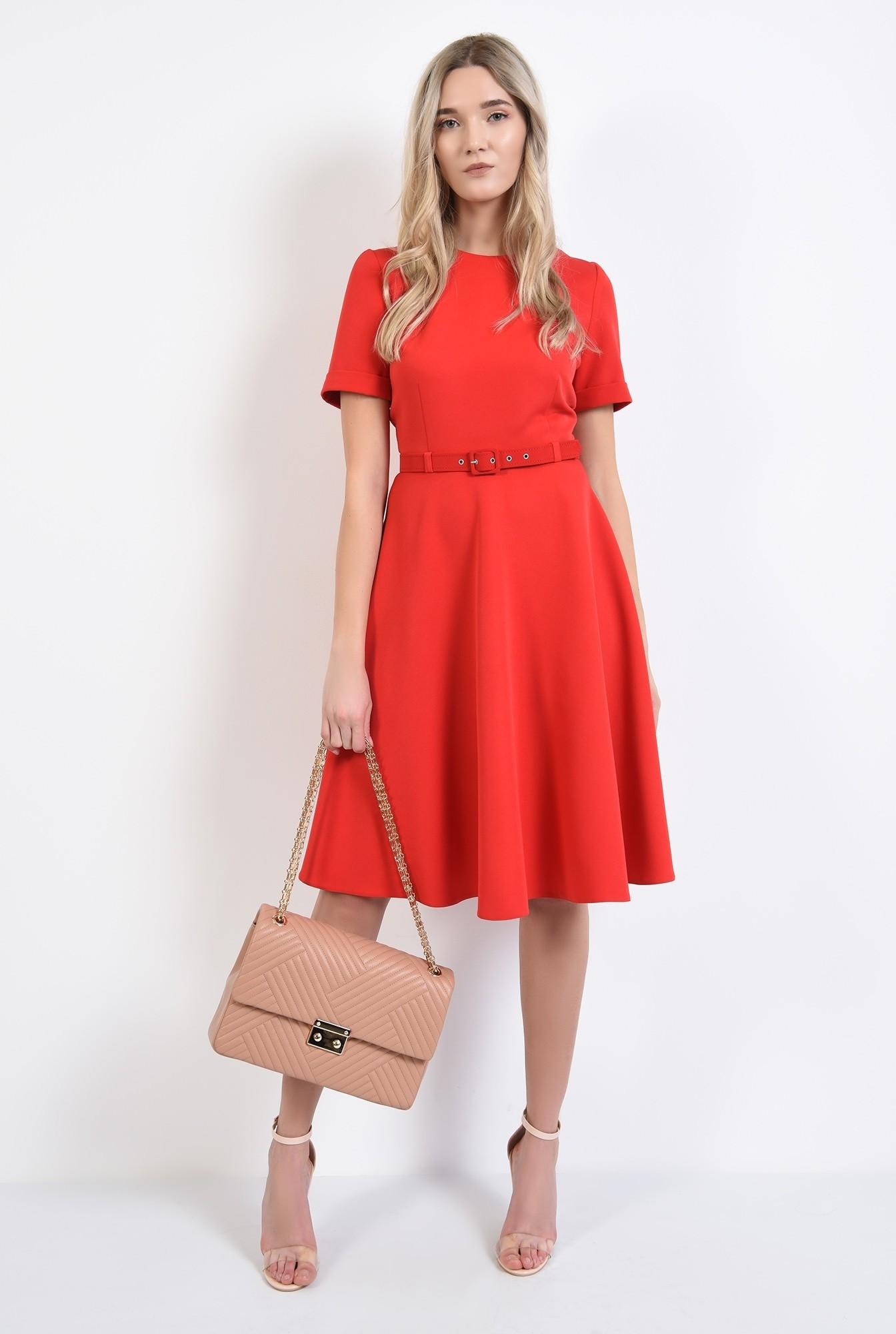 3 - rochie office, rosie, evazata, cu maneci scurte, fermoar la spate