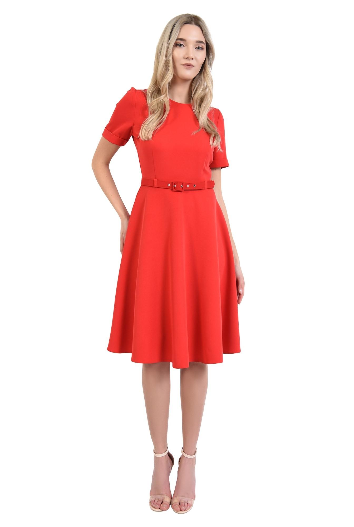 0 - rochie office, rosie, evazata, cu maneci scurte, fermoar la spate