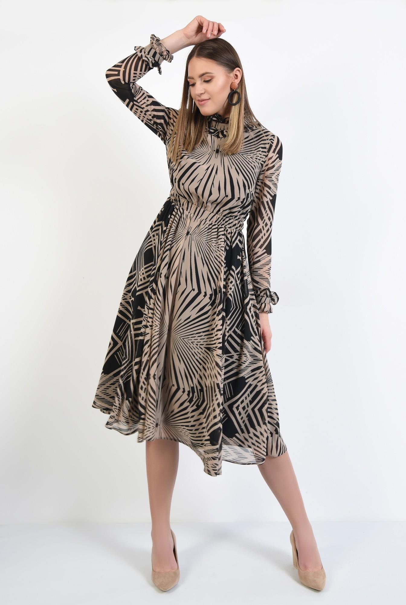 3 - rochie casual, evazata, cu imprimeu, maneci cu volan