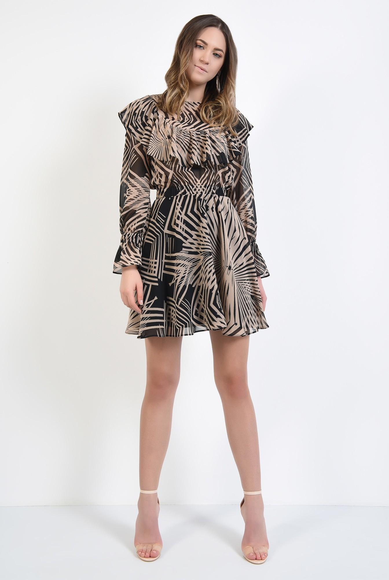 3 - rochie mini, cu imprimeu abstract, negru, bej, talie pe elastic, volan