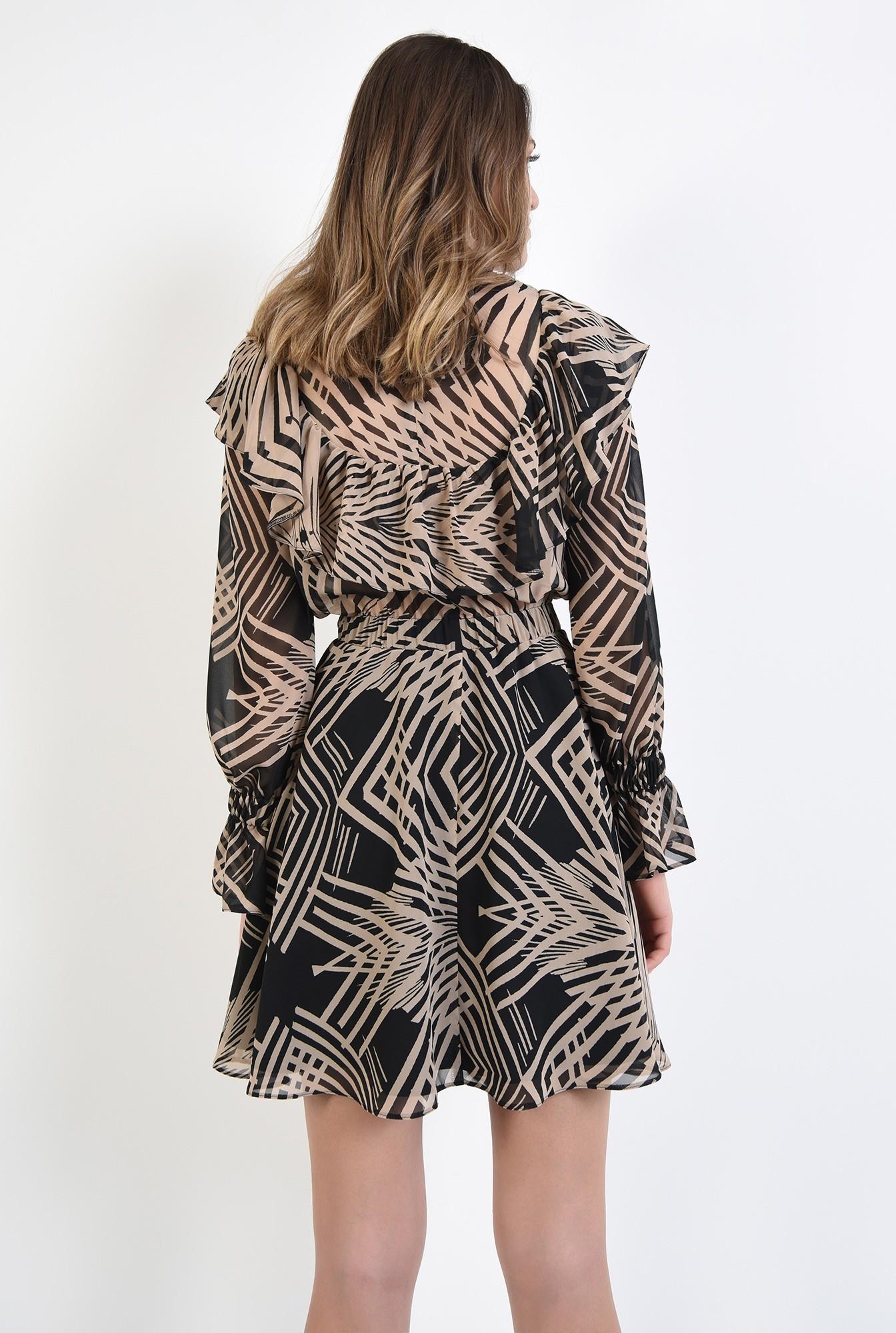 1 - rochie mini, cu imprimeu abstract, negru, bej, talie pe elastic, volan