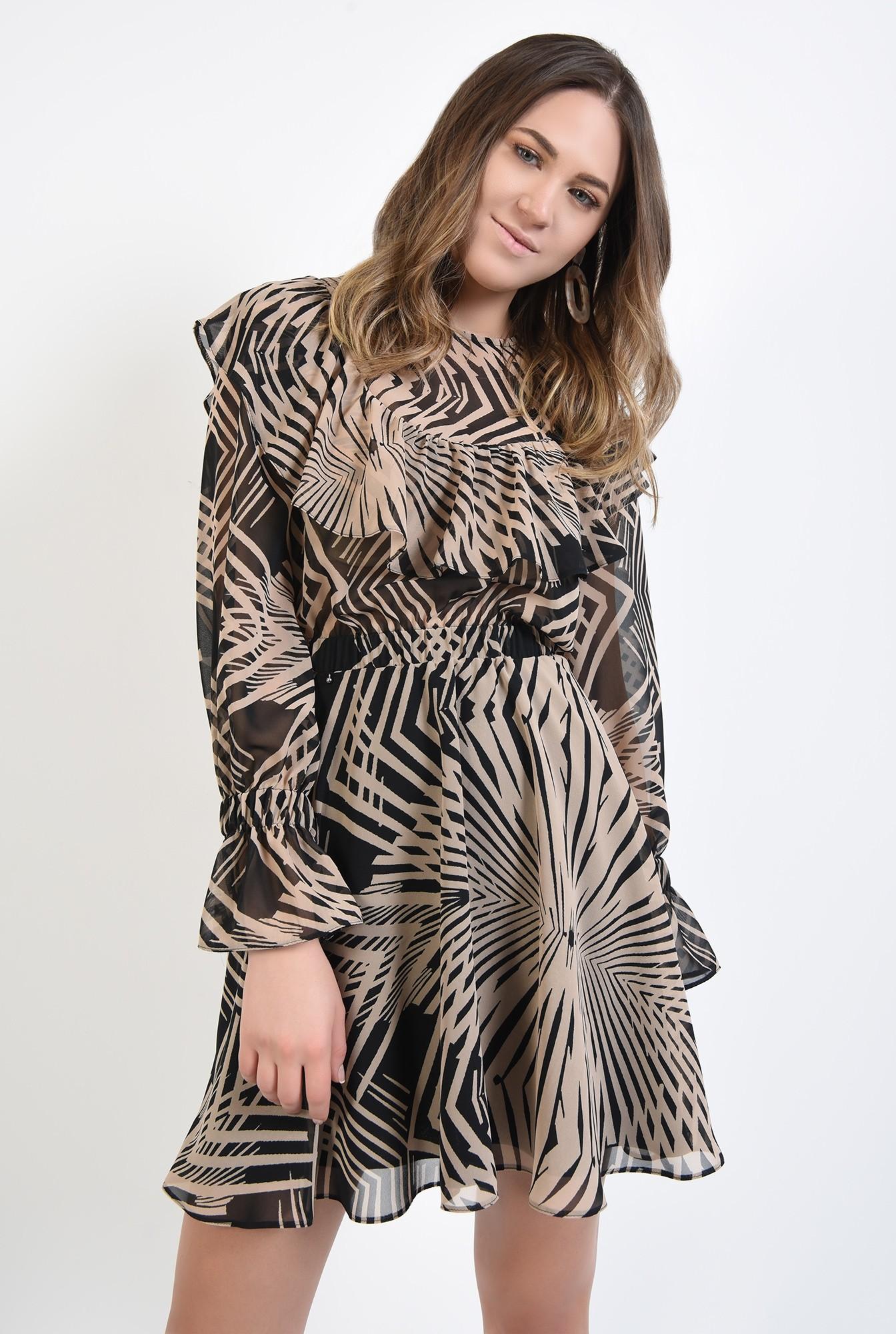 2 - rochie mini, cu imprimeu abstract, negru, bej, talie pe elastic, volan