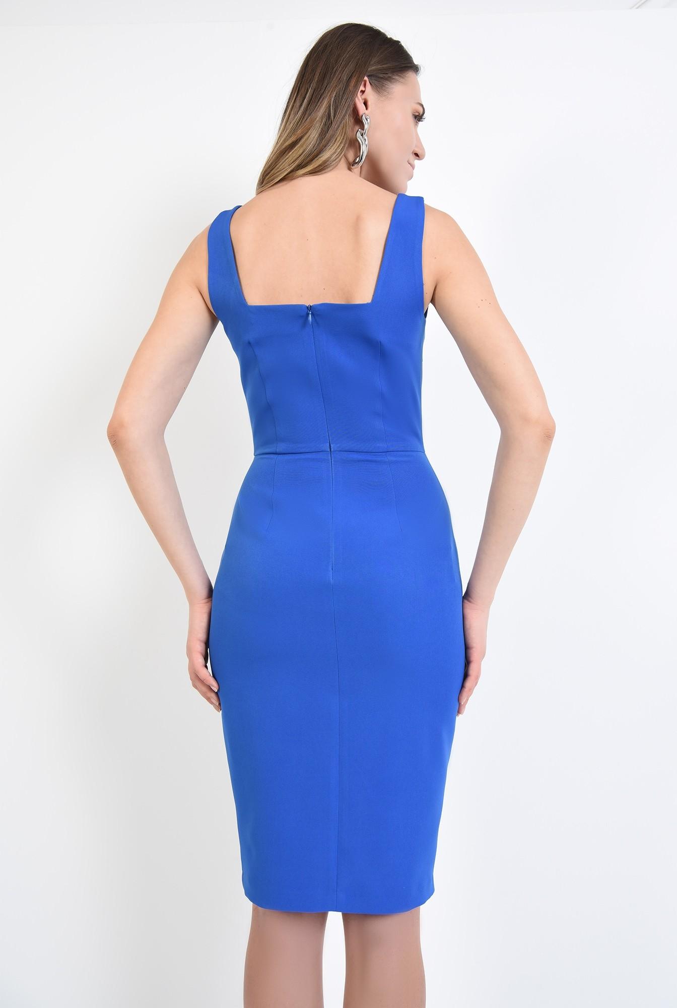 1 - 360 - rochie albastra, cu bretele, de ocazie, cu decolteu