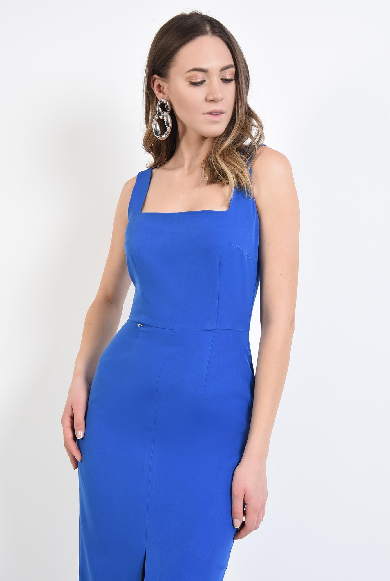 2 - 360 - rochie albastra, cu bretele, de ocazie, cu decolteu