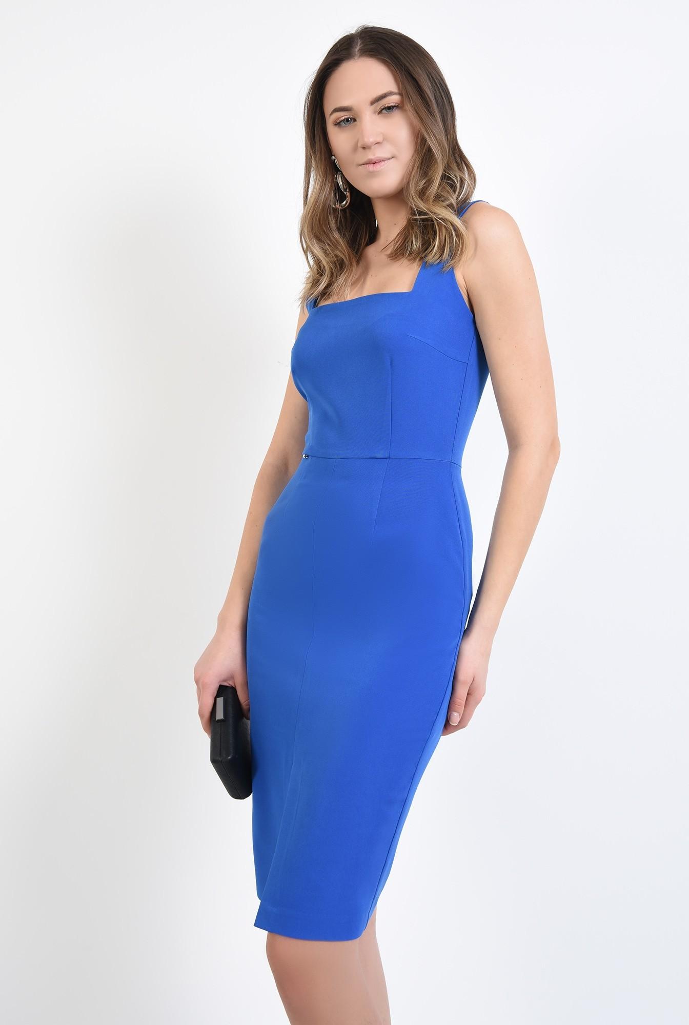 0 - 360 - rochie albastra, cu bretele, de ocazie, cu decolteu