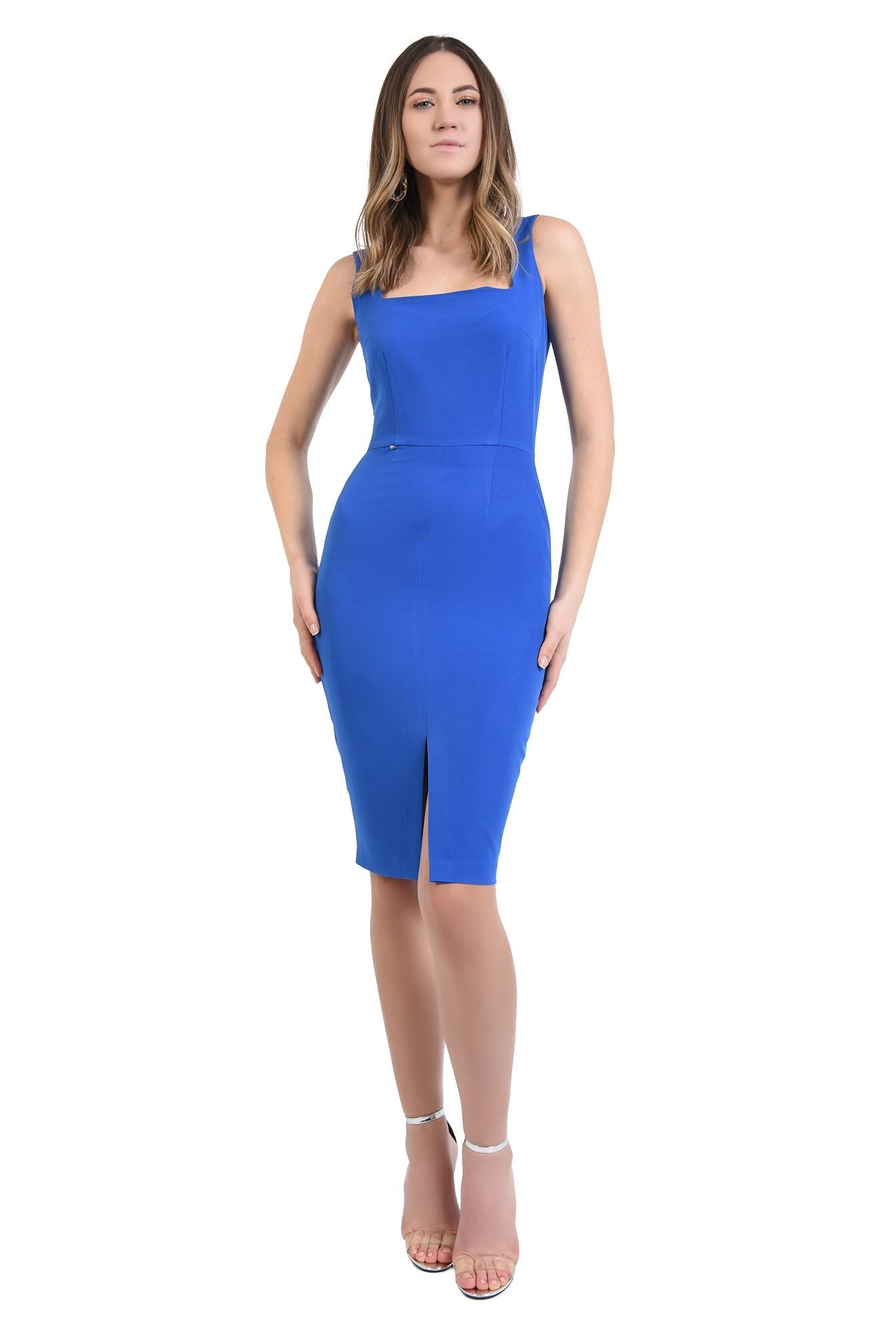 3 - 360 - rochie albastra, cu bretele, de ocazie, cu decolteu