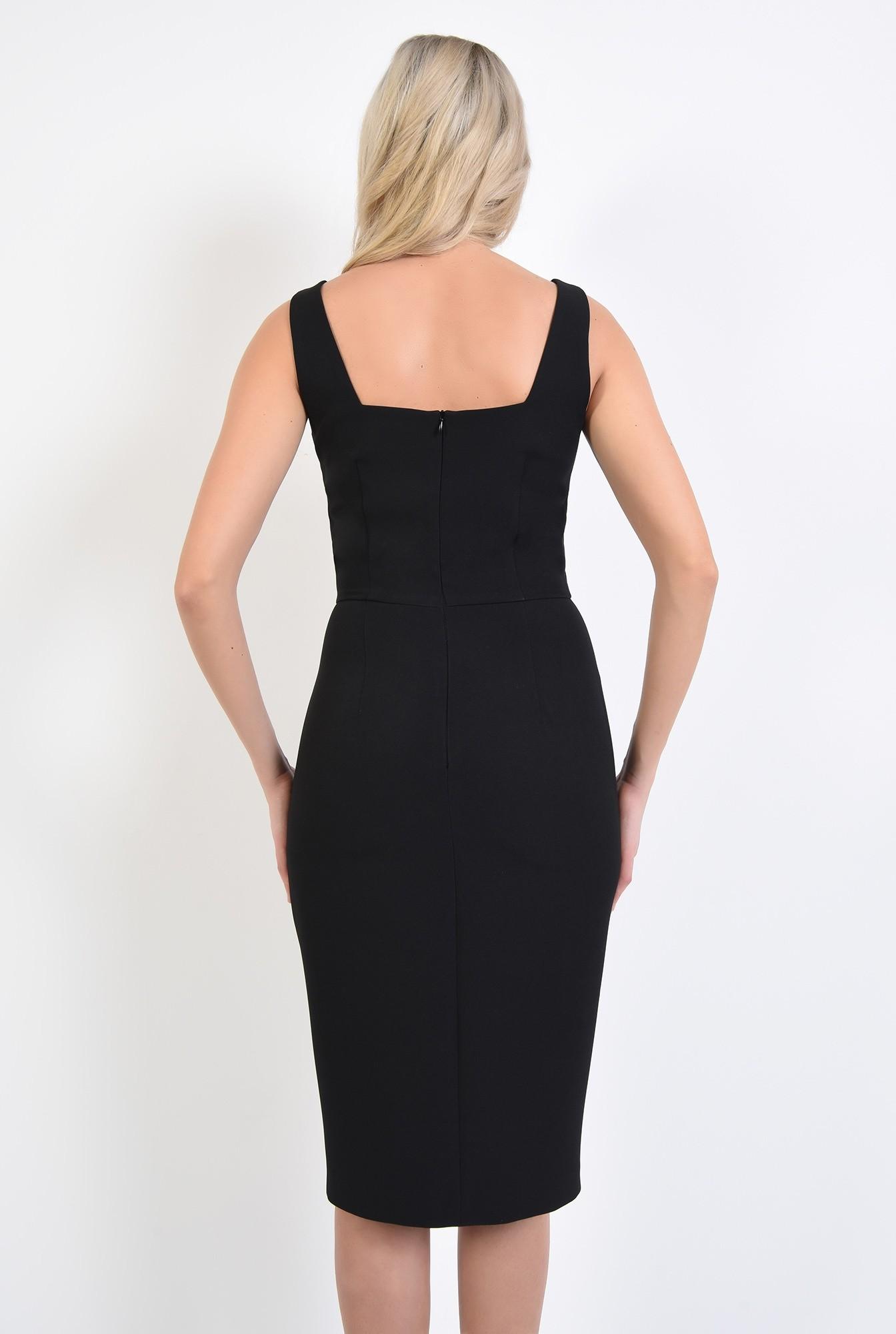 1 - 360 - rochie neagra, de seara, cu crapeu, cusatura in talie