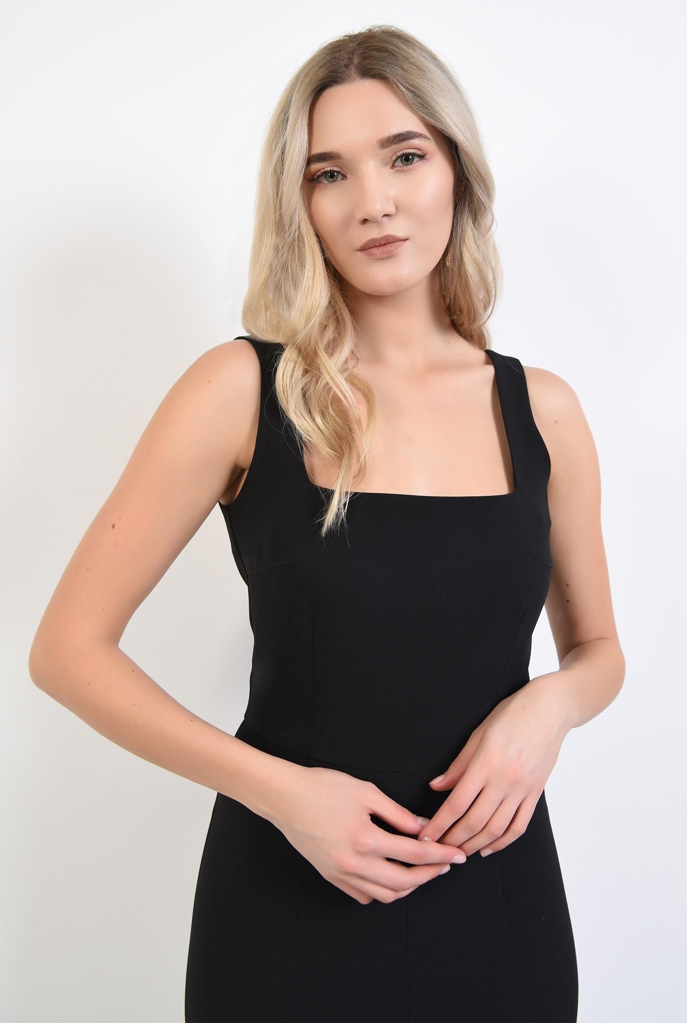 2 - 360 - rochie neagra, de seara, cu crapeu, cusatura in talie