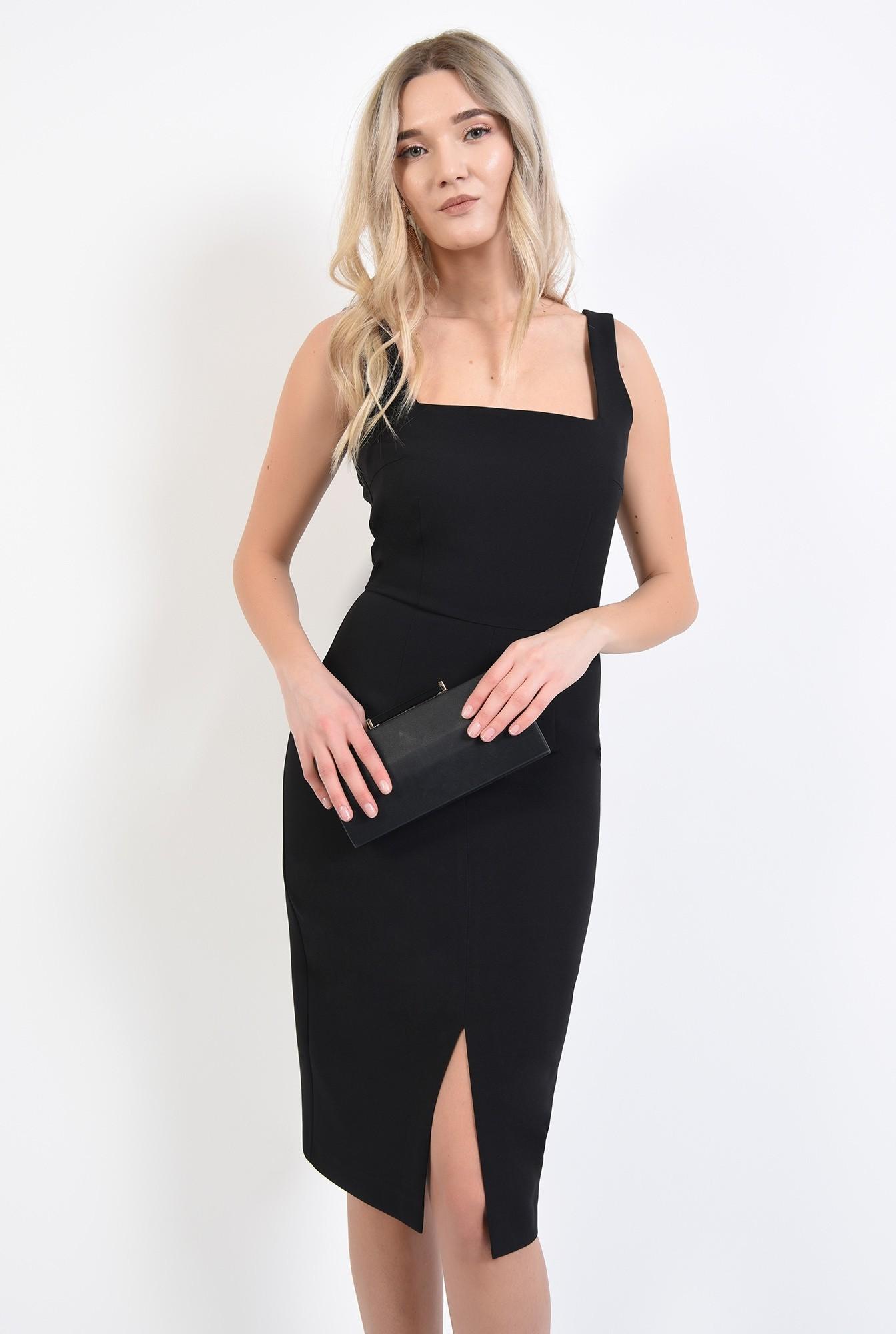 0 - 360 - rochie neagra, de seara, cu crapeu, cusatura in talie