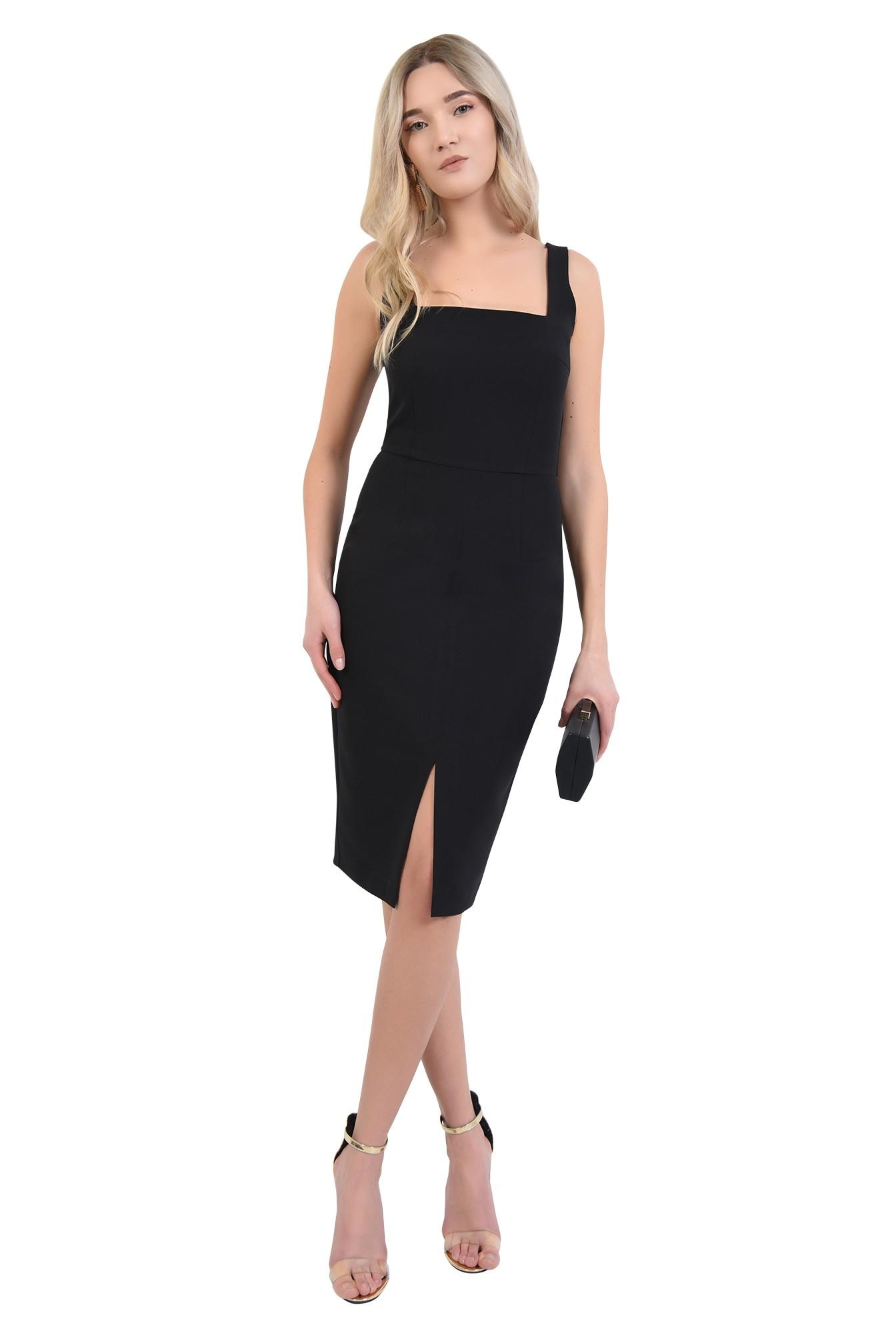 3 - 360 - rochie neagra, de seara, cu crapeu, cusatura in talie