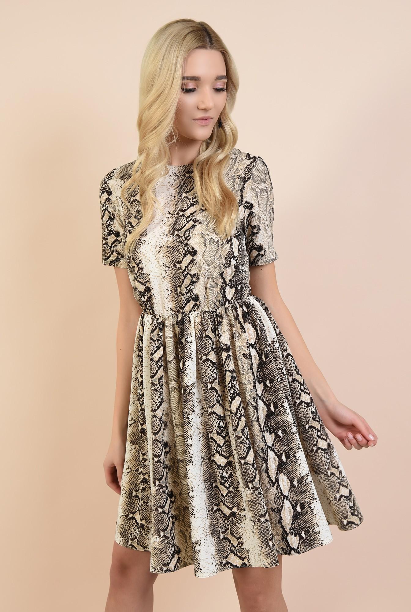 2 - rochie casual, scurta, cu imprimeu, maneci scurte, snakeskin, Poema