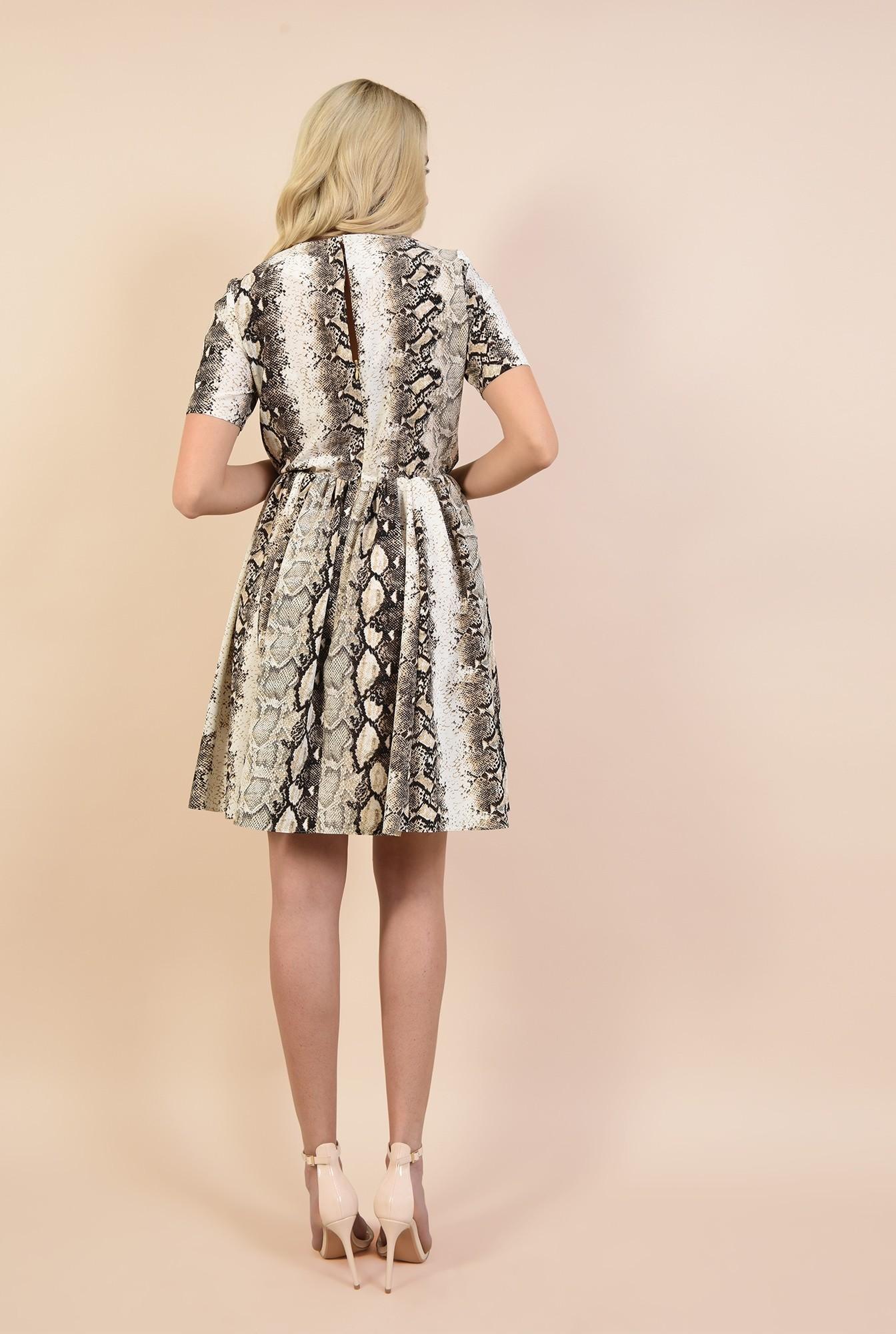 1 - rochie casual, scurta, cu imprimeu, maneci scurte, snakeskin, Poema