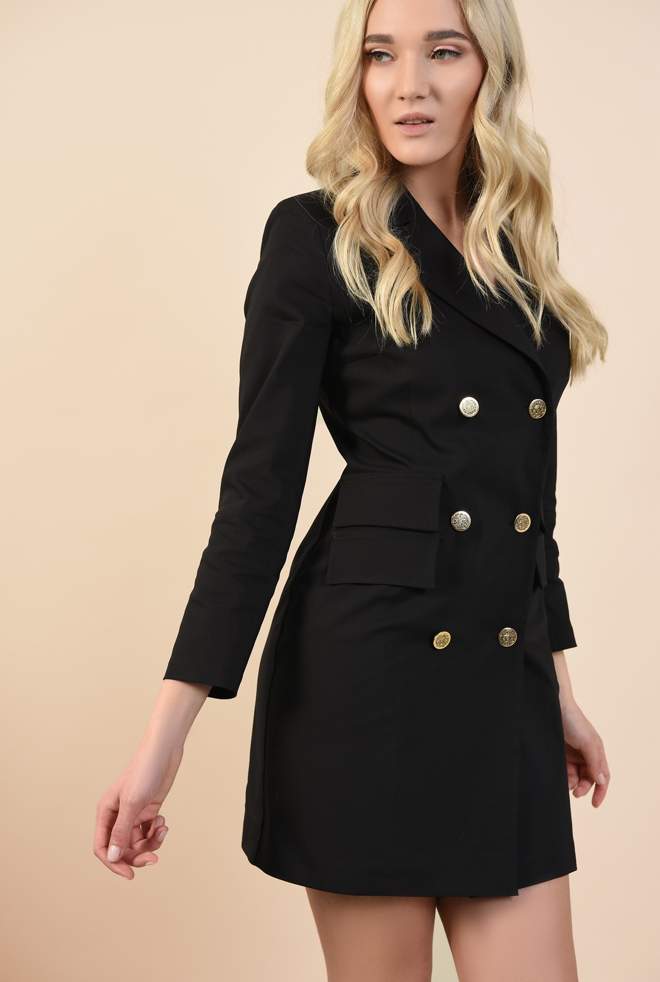 0 - rochie sacou, neagra, scurta, cambrata, rochie de ocazie