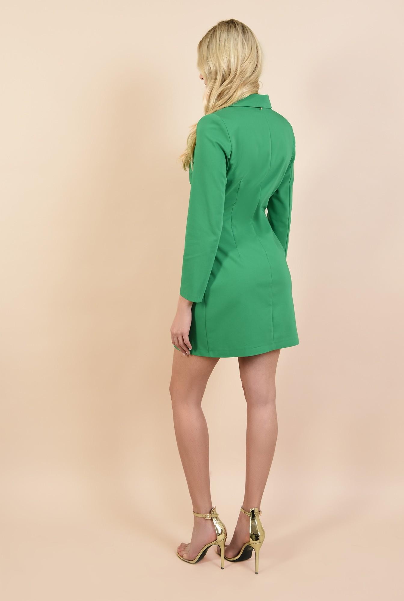 1 - rochie sacou, verde, cu nasturi metalici, scurta, croi cambrat