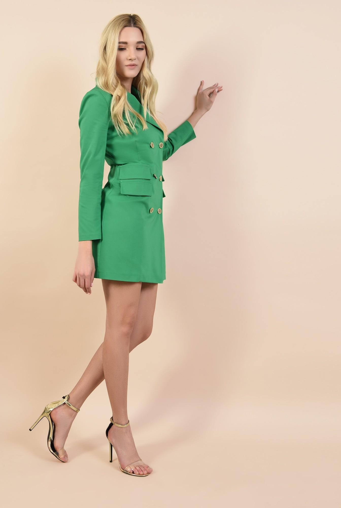 3 - rochie sacou, verde, cu nasturi metalici, scurta, croi cambrat