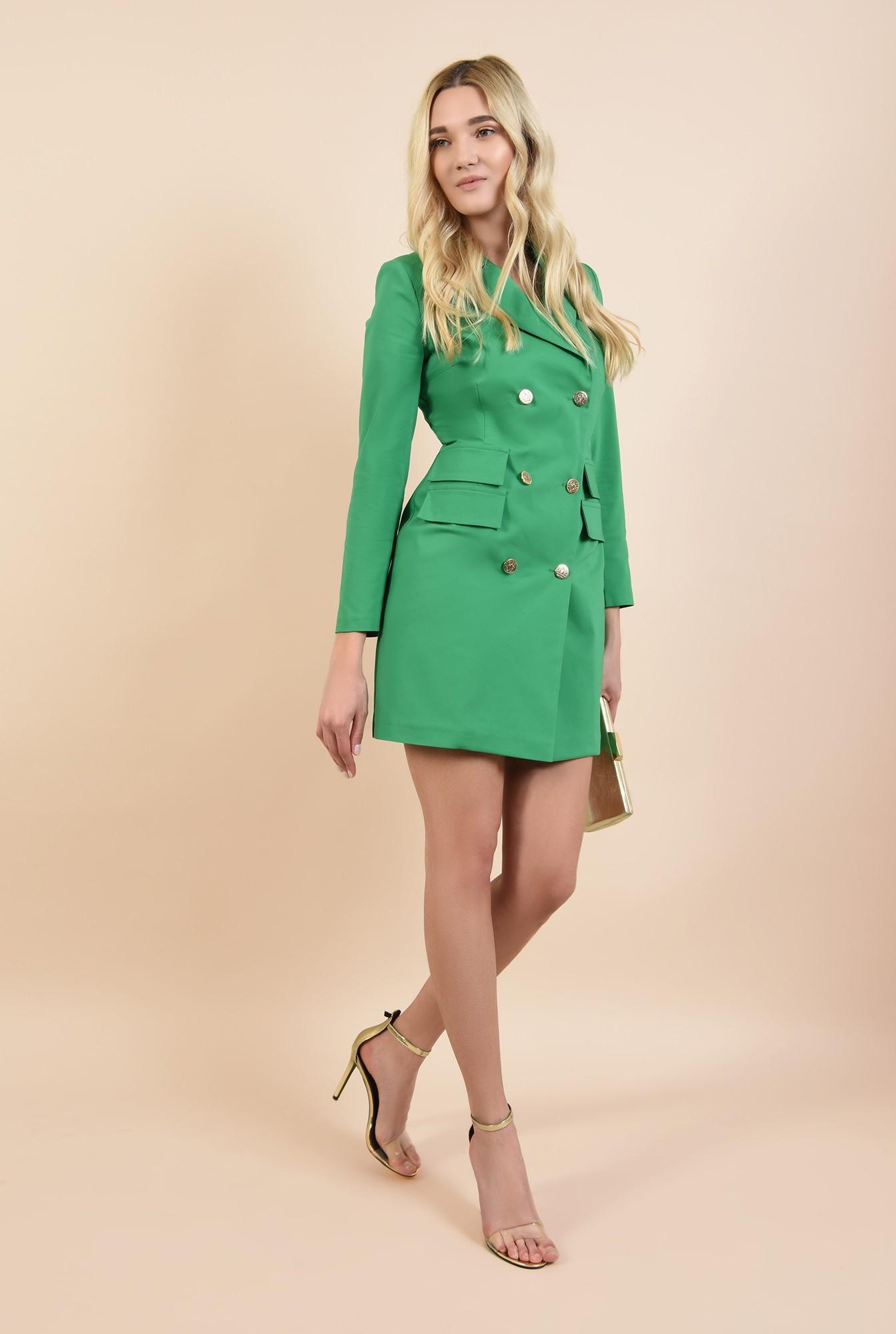 0 - rochie sacou, verde, cu nasturi metalici, scurta, croi cambrat