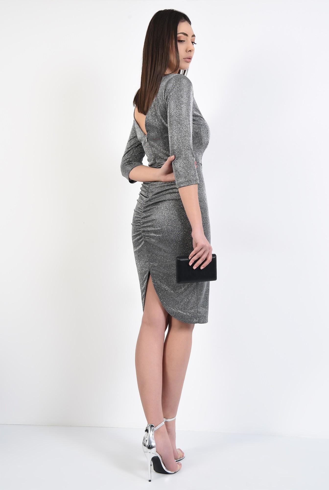 0 - rochie midi, conica, stretch, cu fronseuri la spate, spate decupat