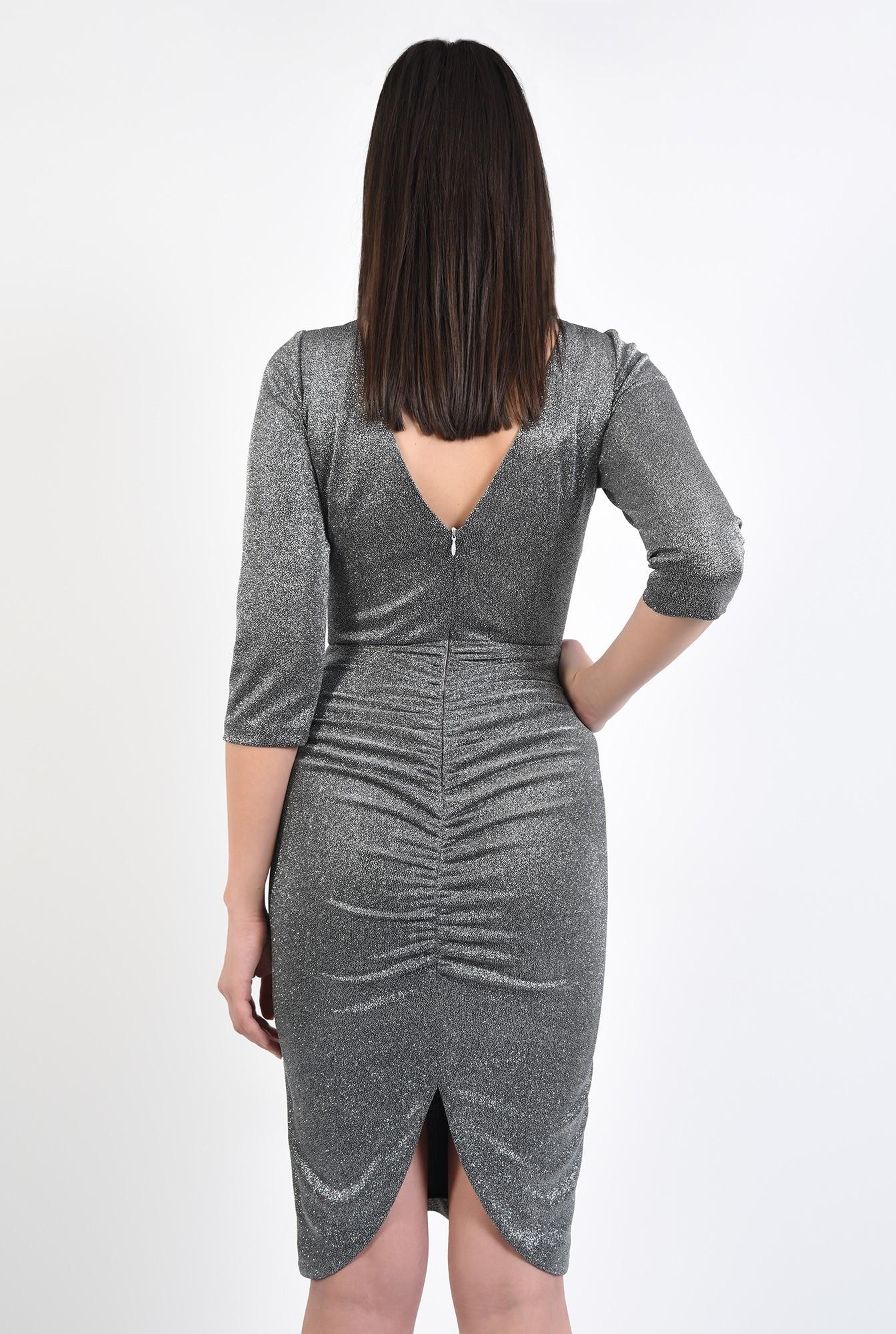 1 - rochie midi, conica, stretch, cu fronseuri la spate, spate decupat