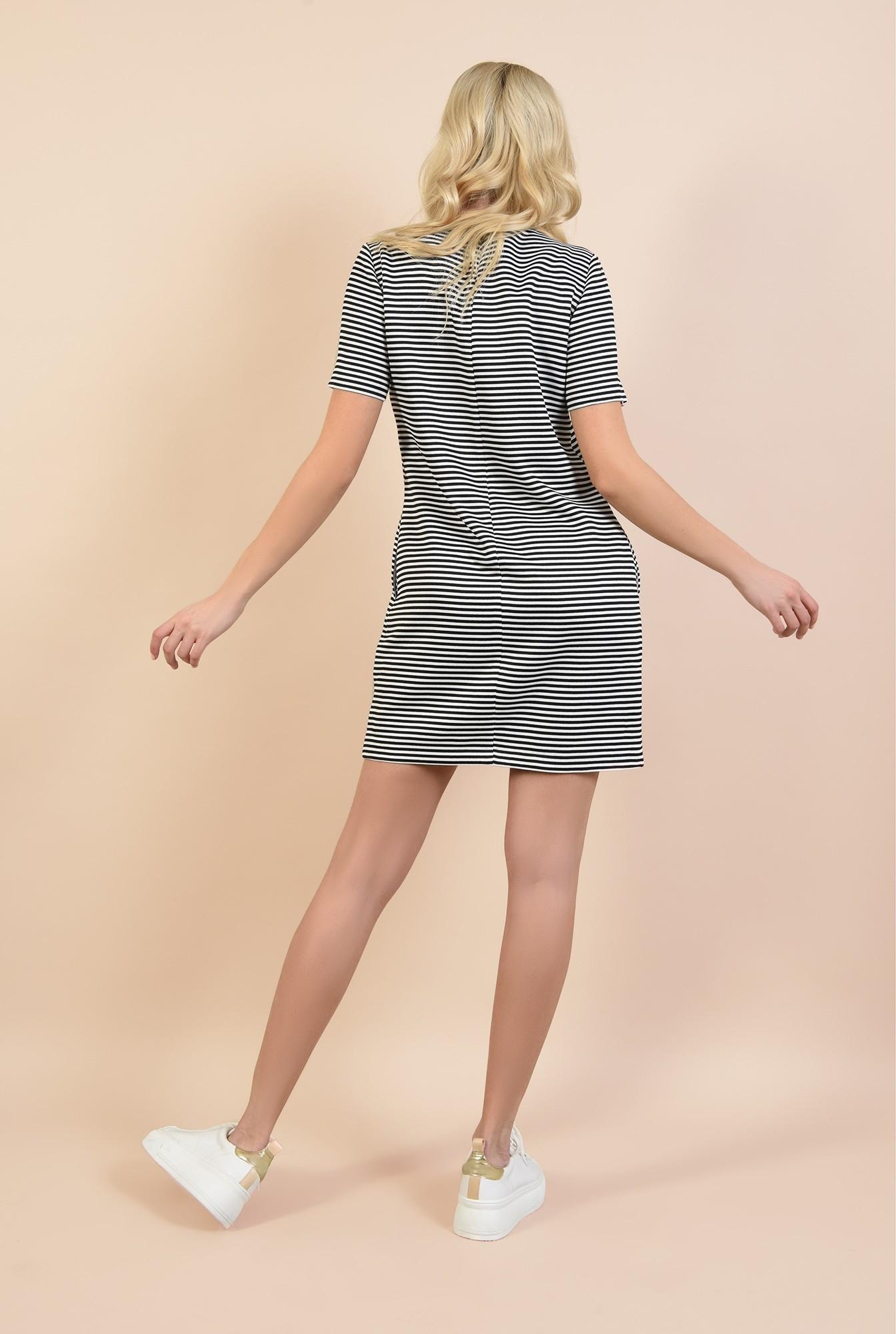 1 - rochie scurta, casual, lejera, cu dungi fine, alb-bleumarin, Poema