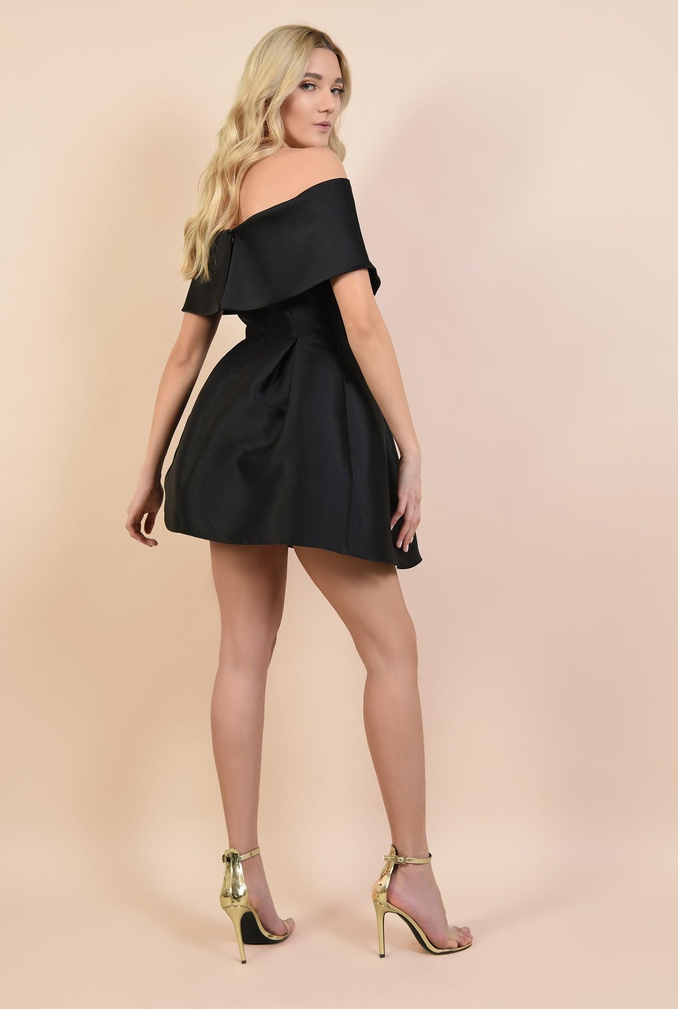 1 - rochie mini, din tafta, de seara, cu pliuri decorative