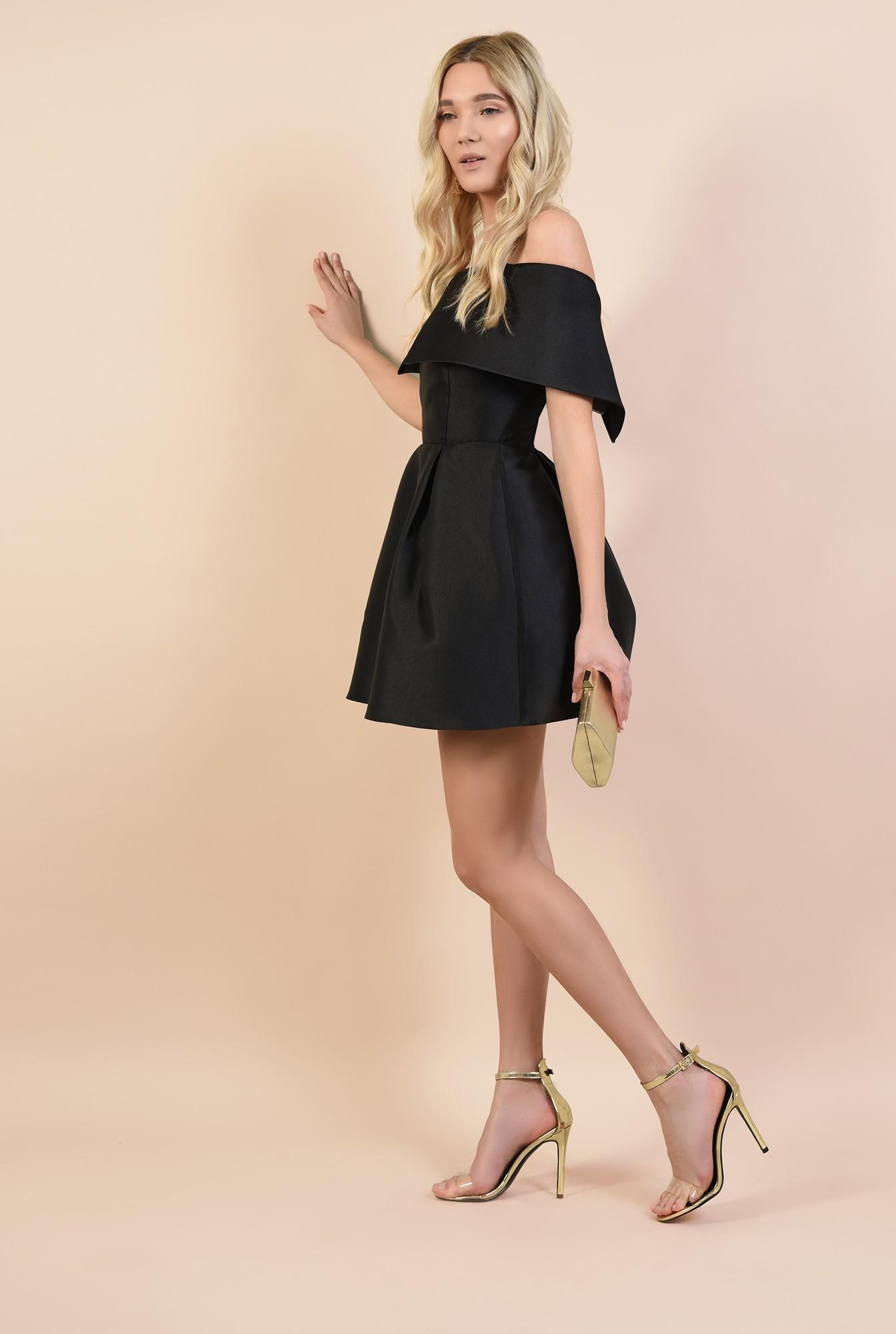 3 - rochie mini, din tafta, de seara, cu pliuri decorative