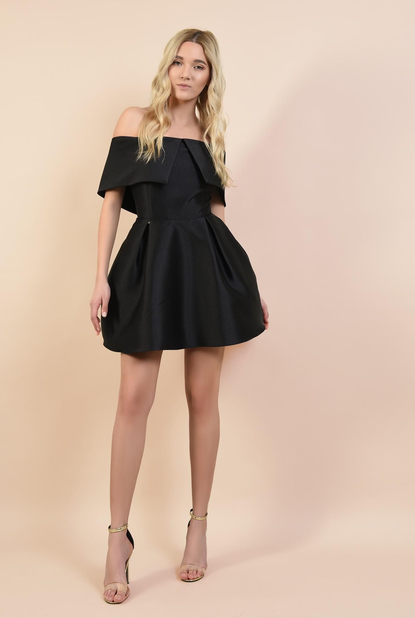 0 - rochie mini, din tafta, de seara, cu pliuri decorative