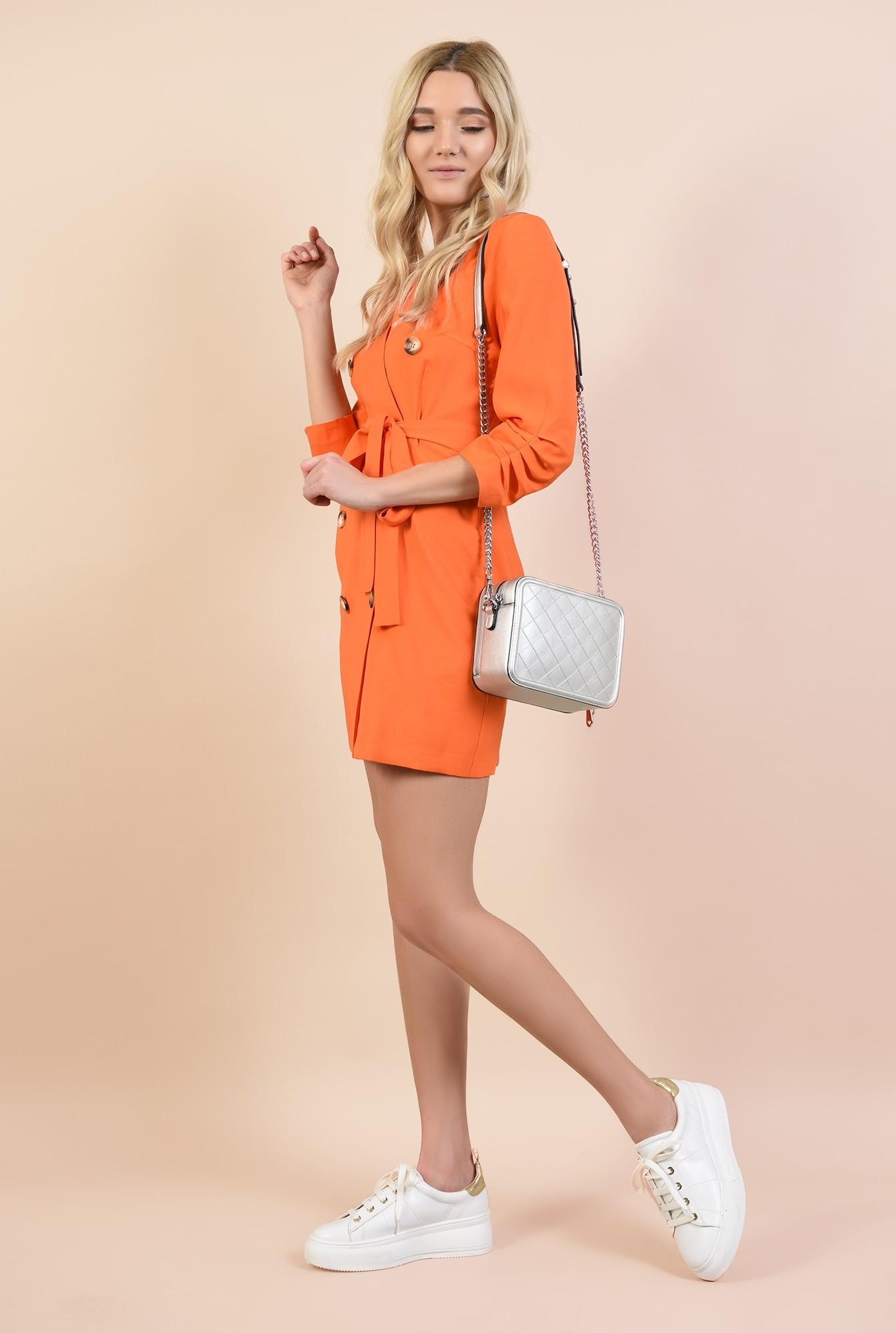 0 - 360 - rochie orange, casual, scurta, cu buzunare, fronseuri la maneci, cu nasturi
