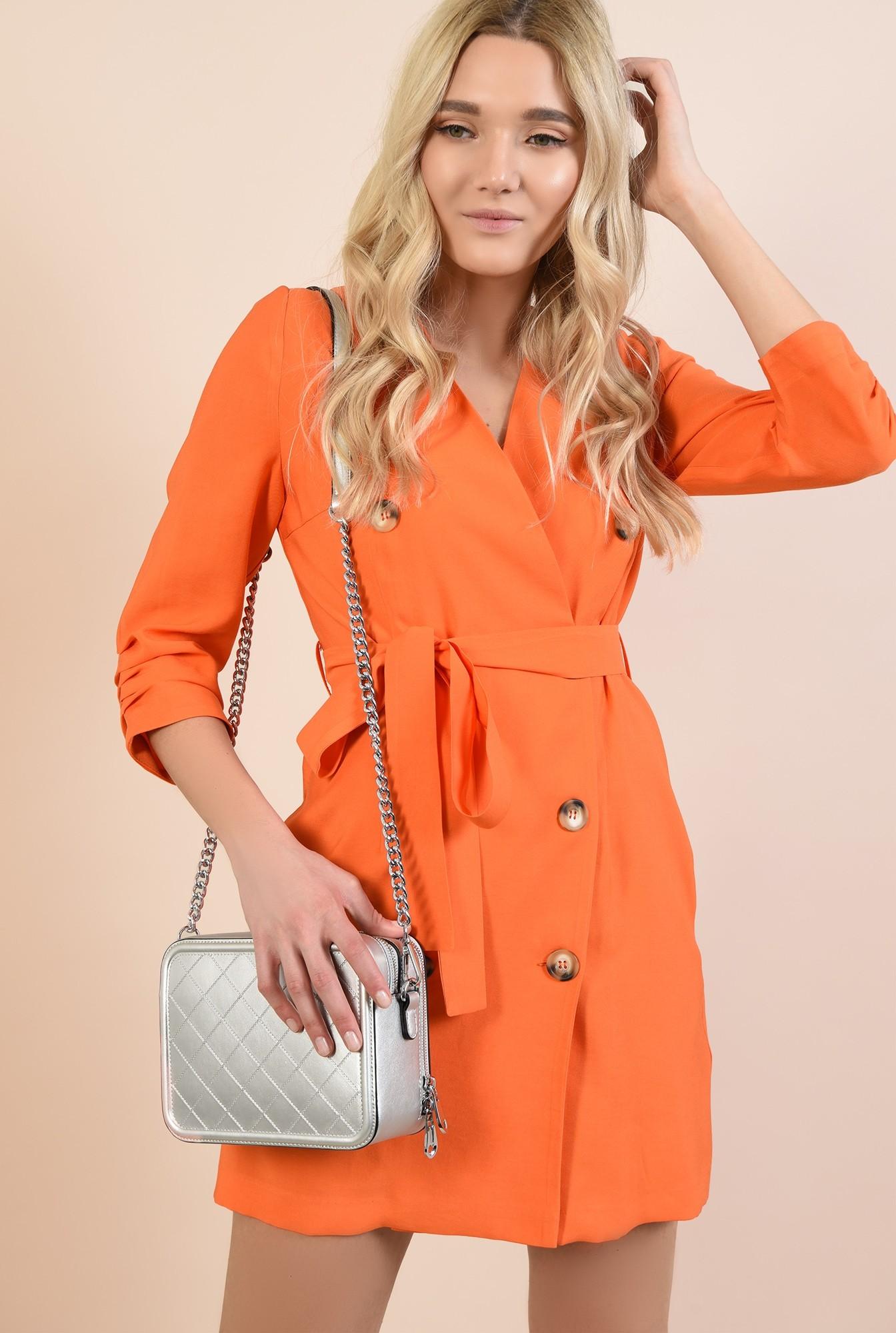 2 - 360 - rochie orange, casual, scurta, cu buzunare, fronseuri la maneci, cu nasturi