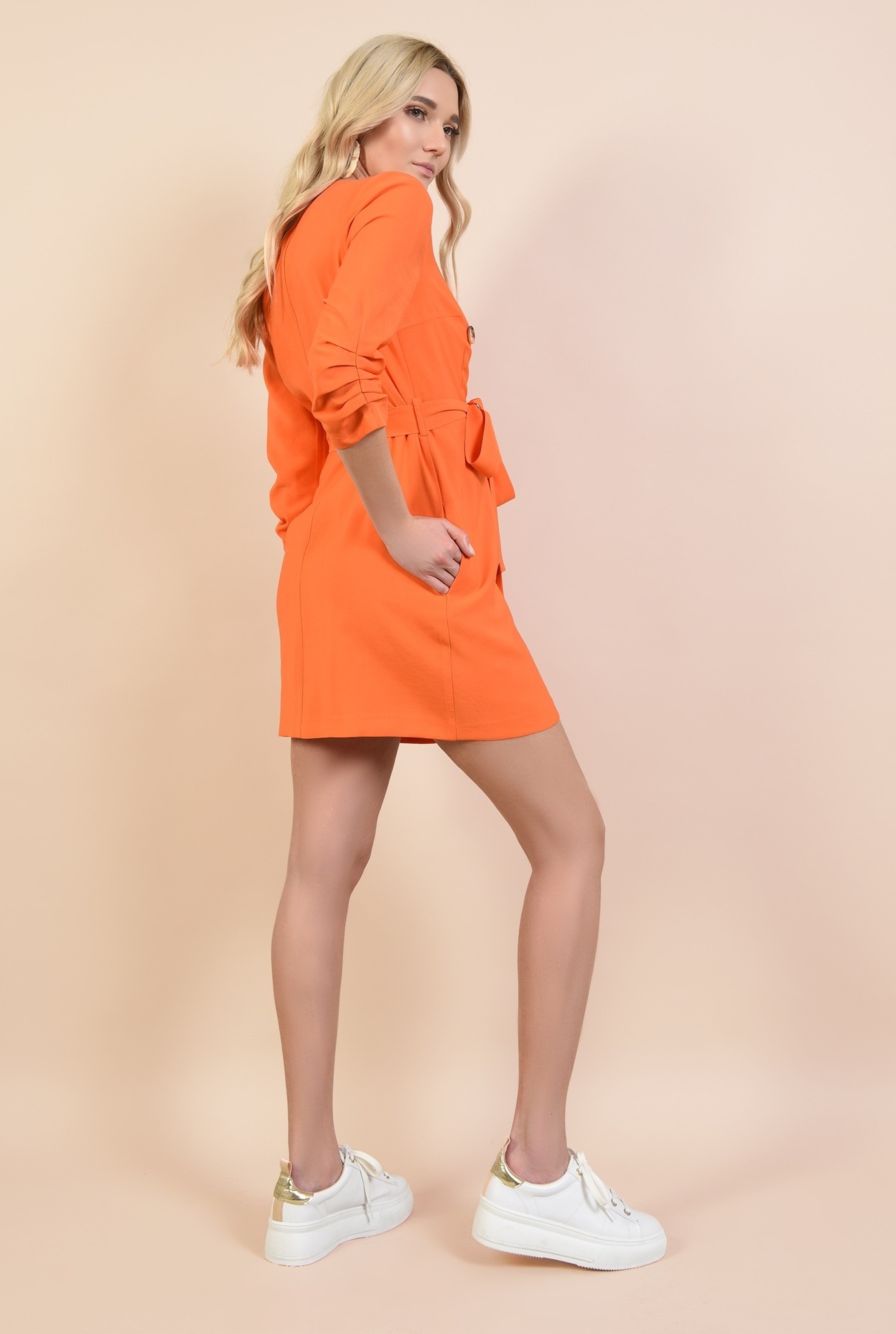 1 - 360 - rochie orange, casual, scurta, cu buzunare, fronseuri la maneci, cu nasturi