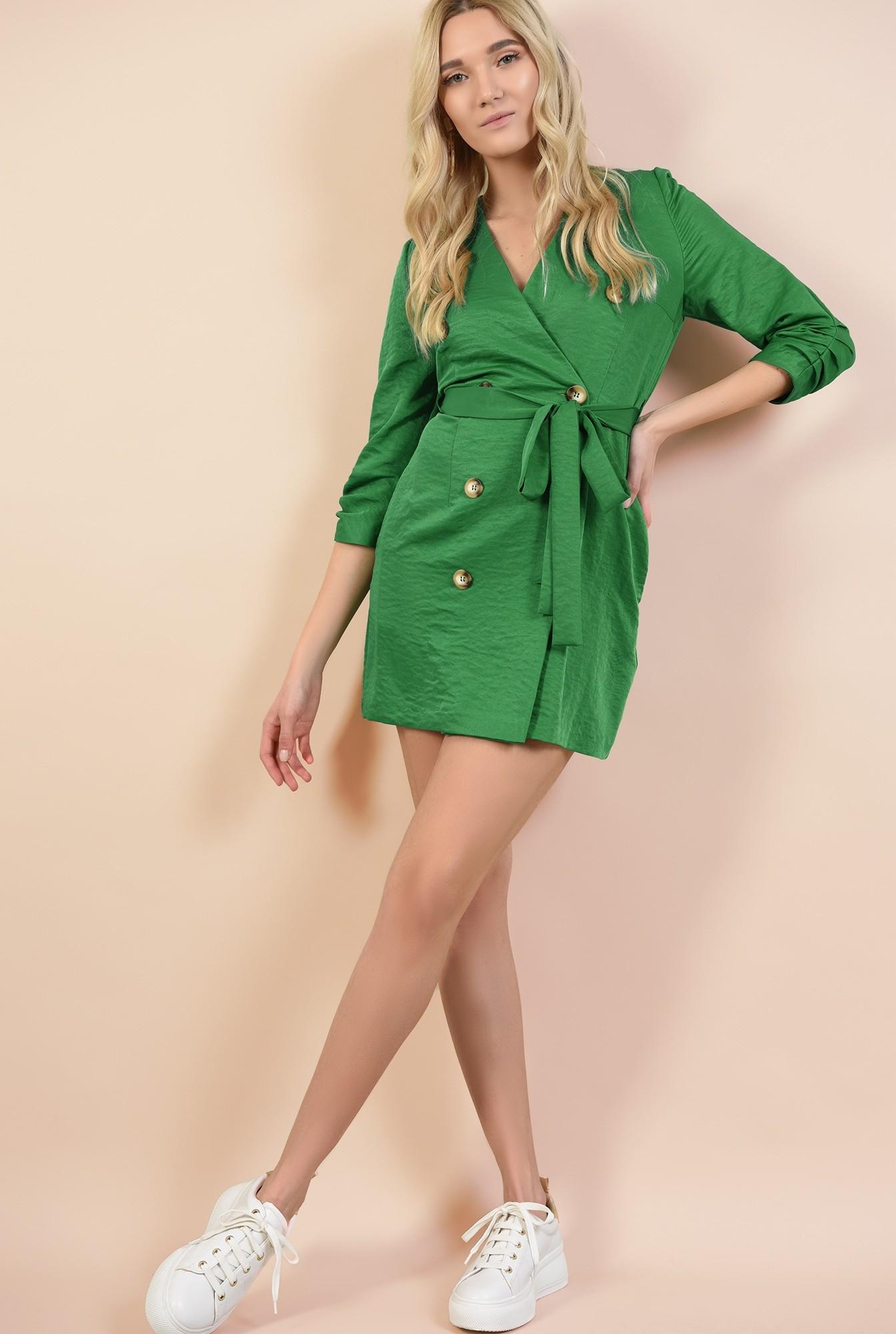 0 - 360 - rochie mini, dreapta, tip halat, cu nasturi, cu buzunare, revere