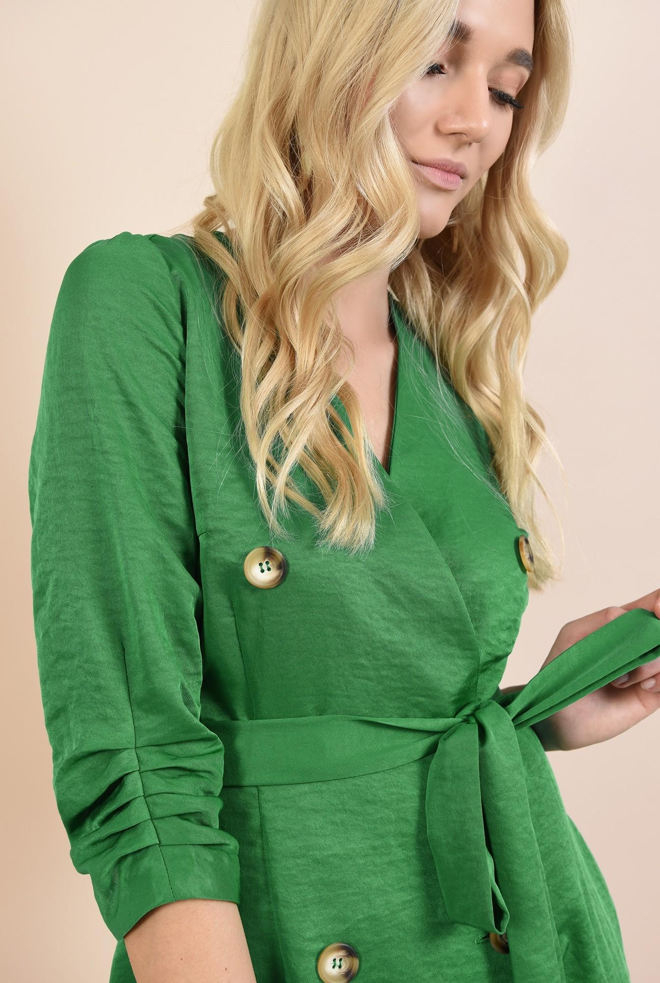 2 - 360 - rochie mini, dreapta, tip halat, cu nasturi, cu buzunare, revere
