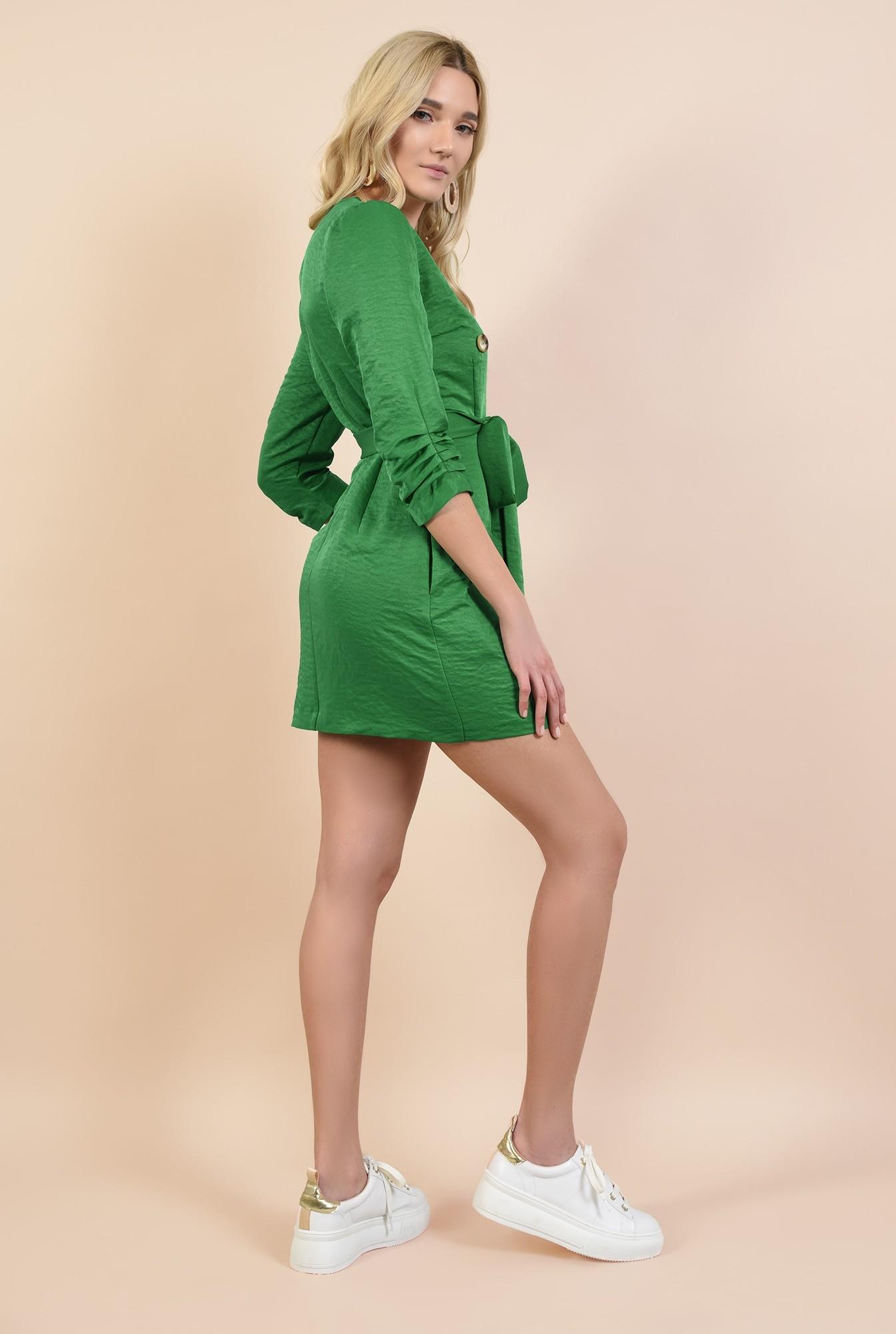 1 - 360 - rochie mini, dreapta, tip halat, cu nasturi, cu buzunare, revere