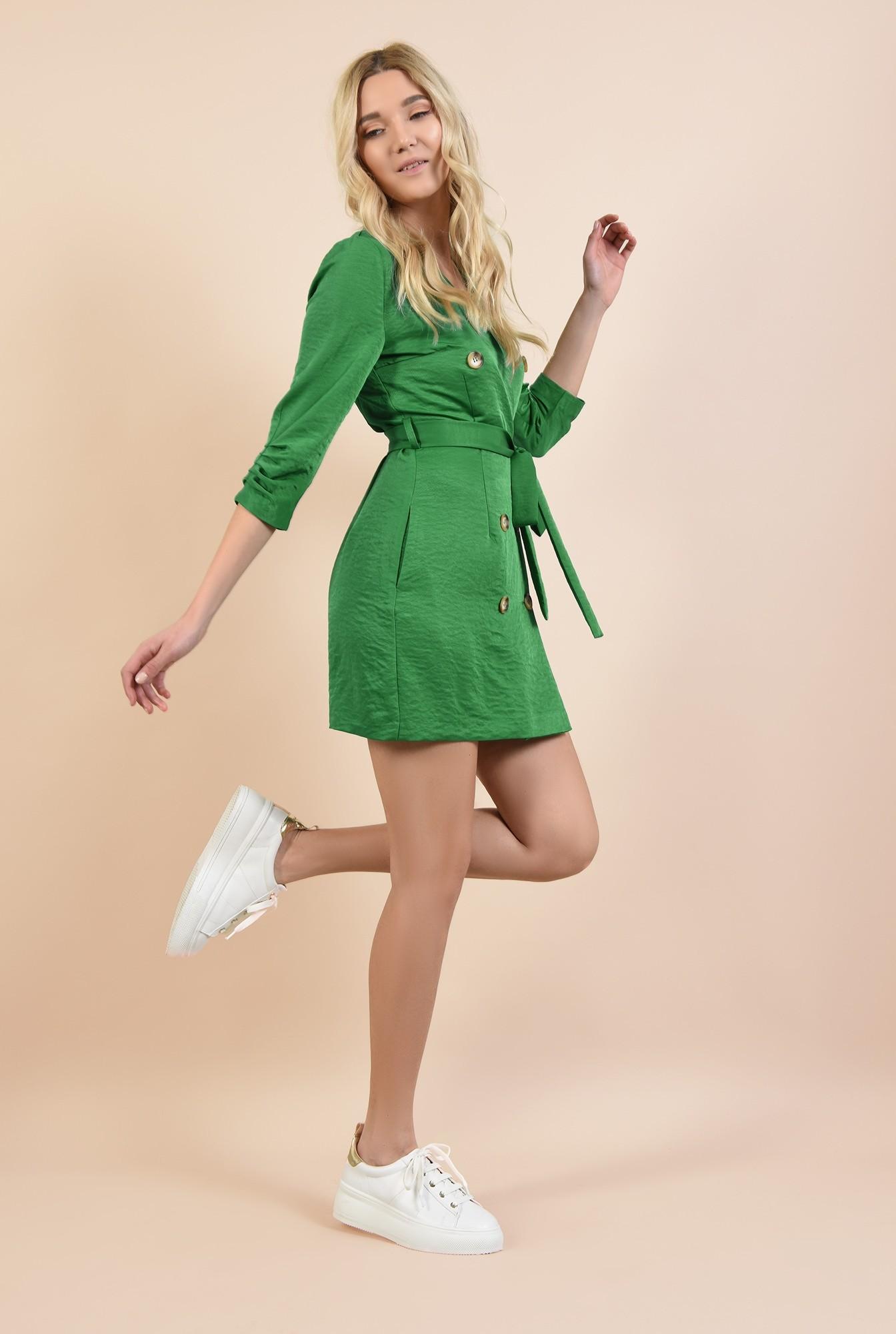 3 - 360 - rochie mini, dreapta, tip halat, cu nasturi, cu buzunare, revere
