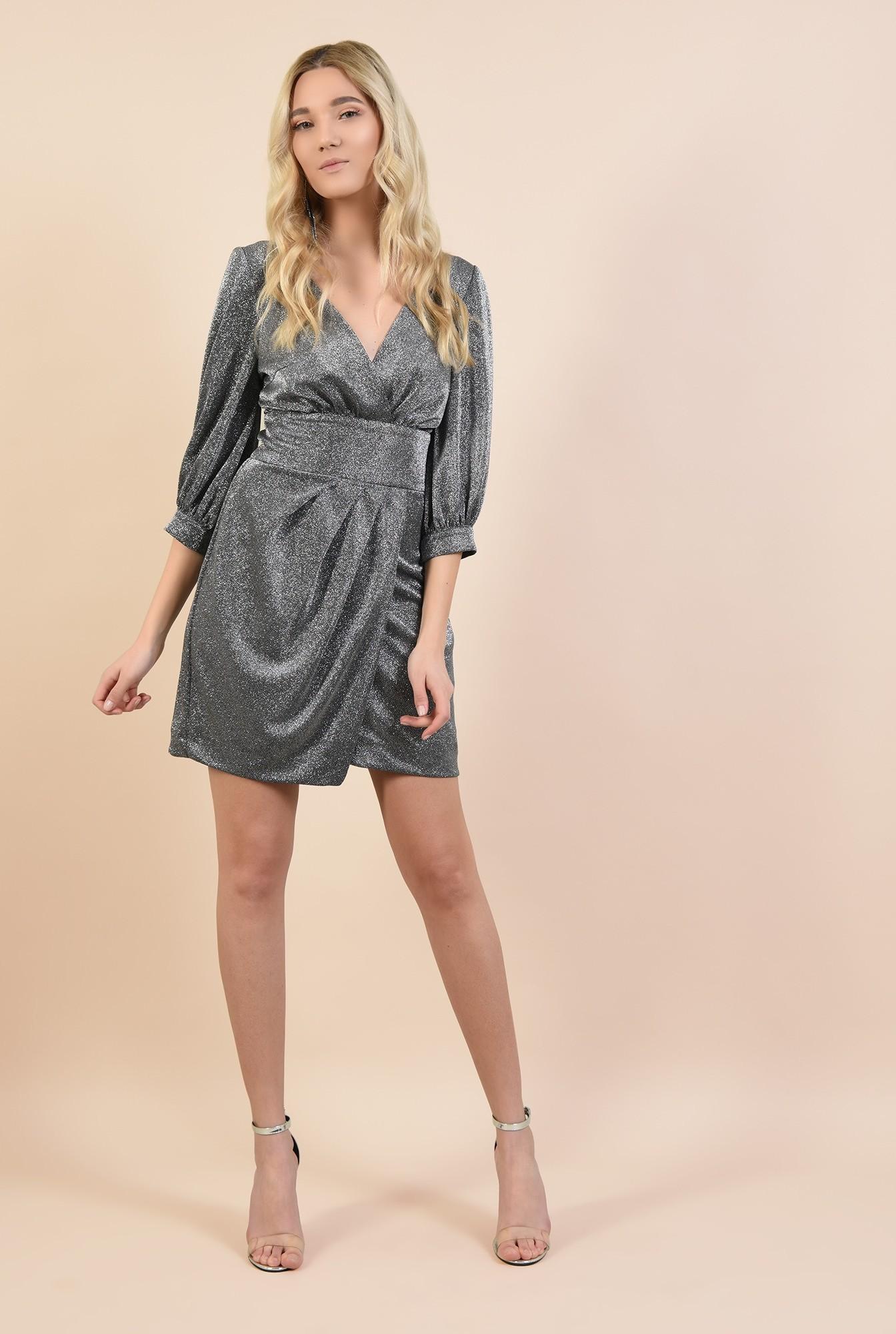 0 - rochie de ocazie, cu maneci bufante, cu anchior, parte peste parte