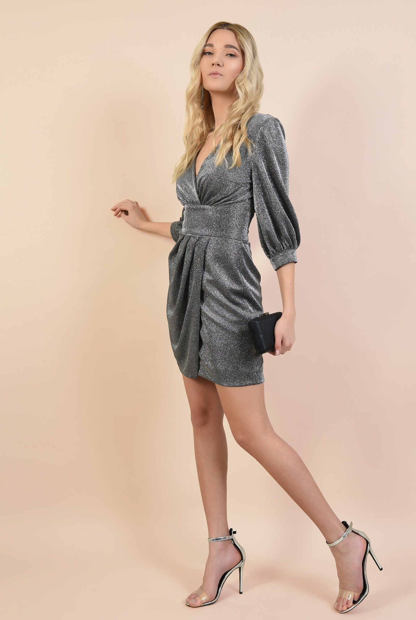 3 - rochie de ocazie, cu maneci bufante, cu anchior, parte peste parte