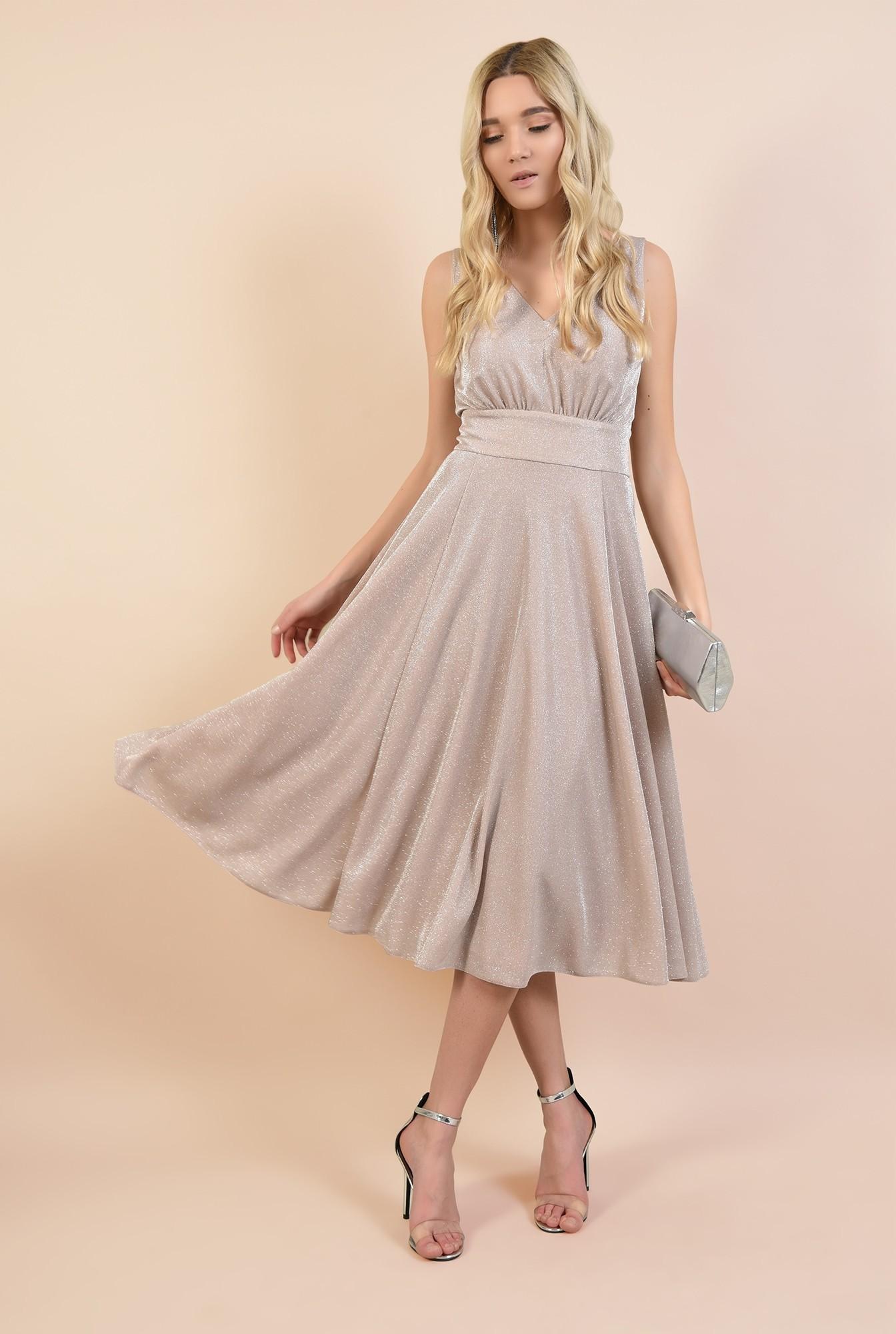 3 - rochie eleganta, roz, cu sclipici, midi, evazata, Poema