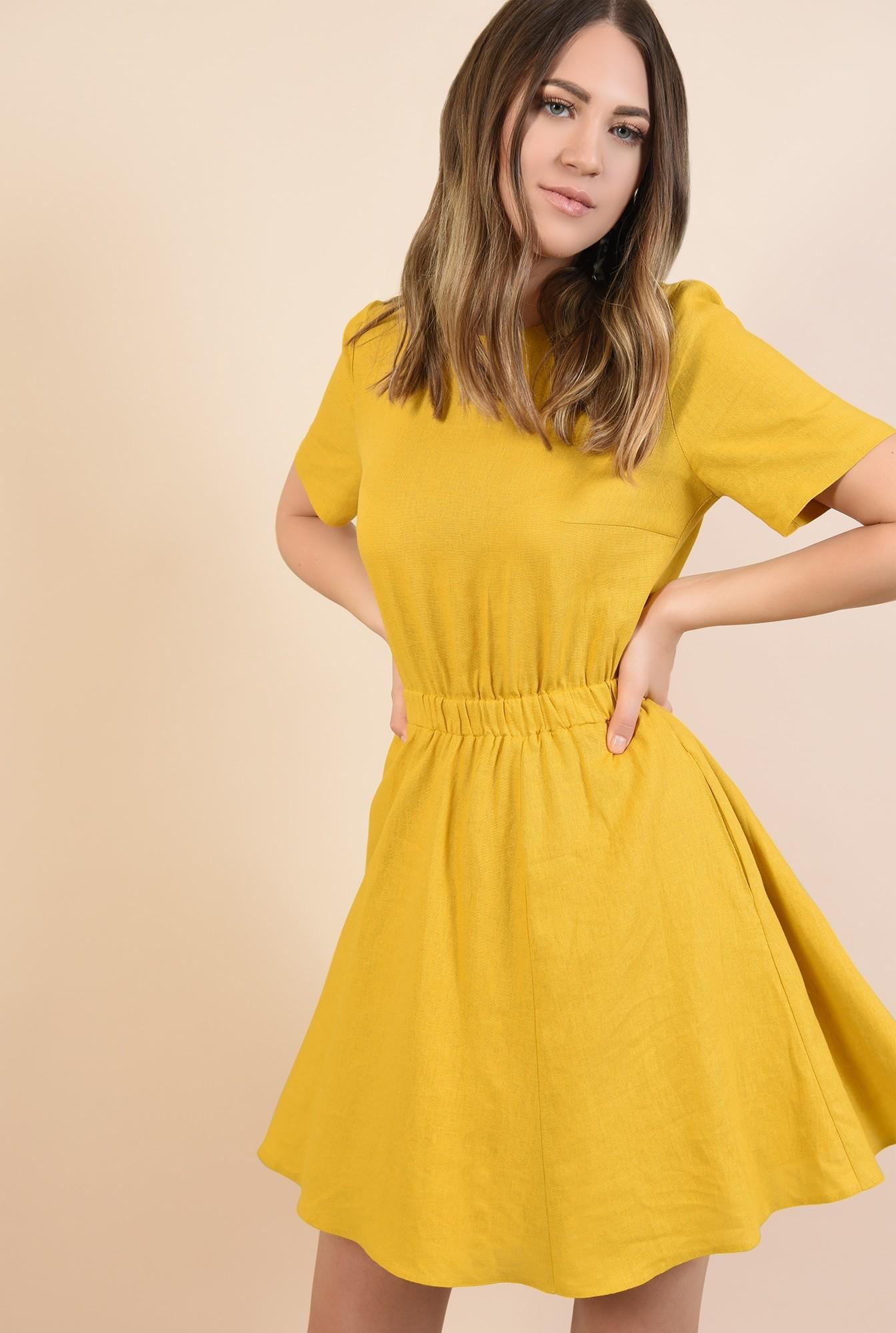 2 - rochie mustar, scurta, talie pe elastic, maneci scurte