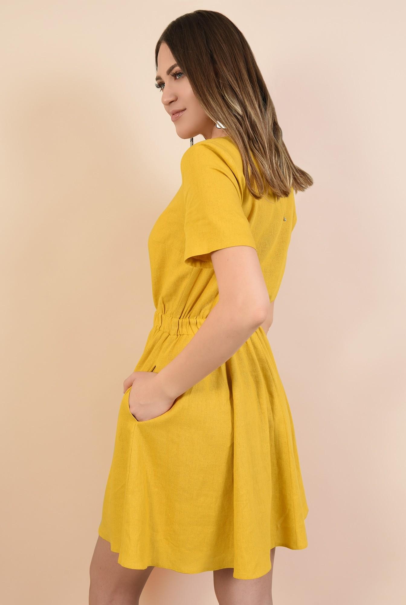 1 - rochie mustar, scurta, talie pe elastic, maneci scurte