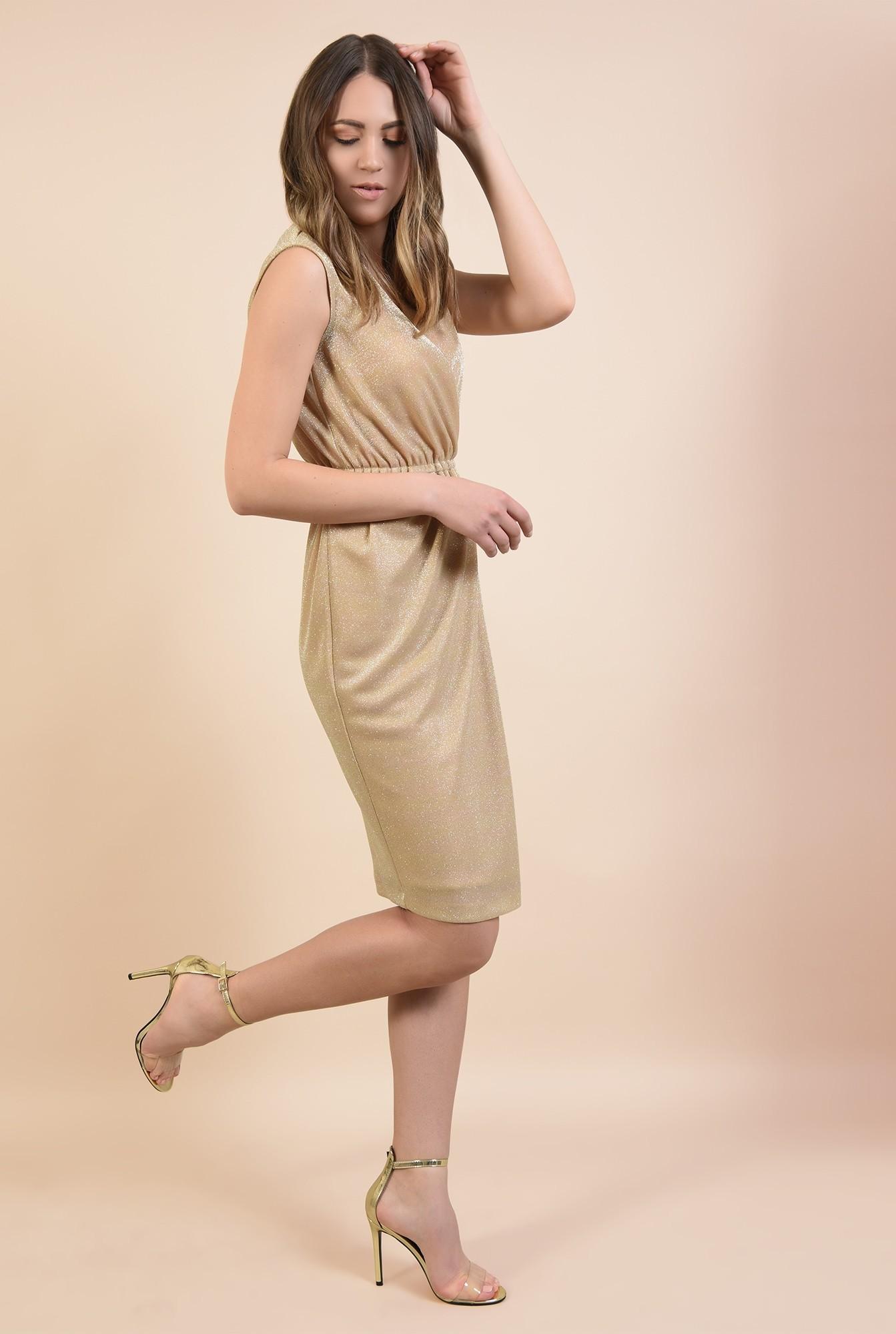 3 - rochie aurie, de ocazie, cu sclipici, midi, petrecuta, Poema