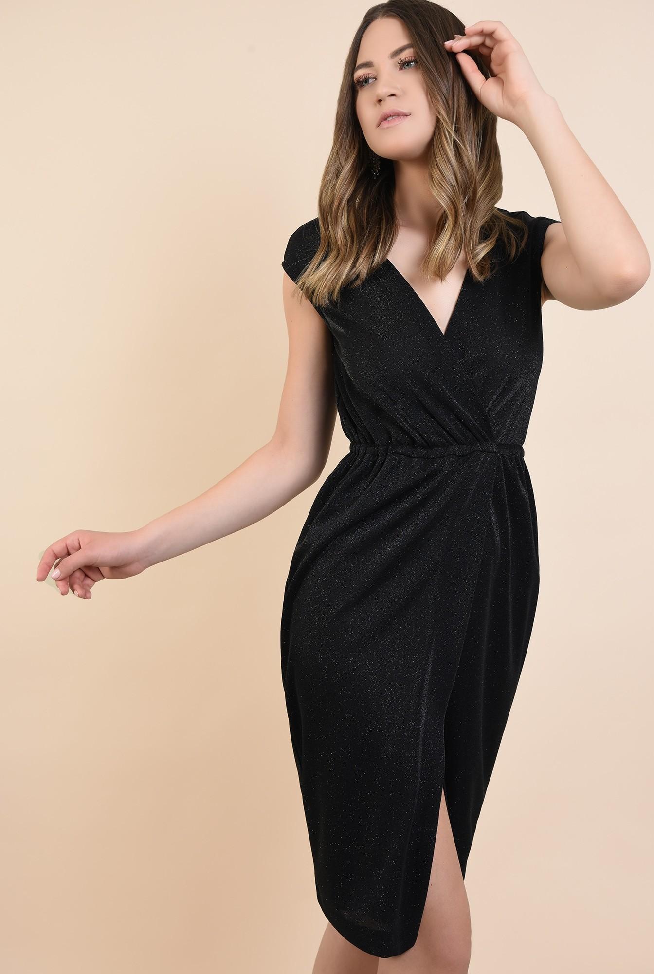 0 - 360 - rochie de ocazie, midi, petrecuta, spate gol, lurex, cu sclipici