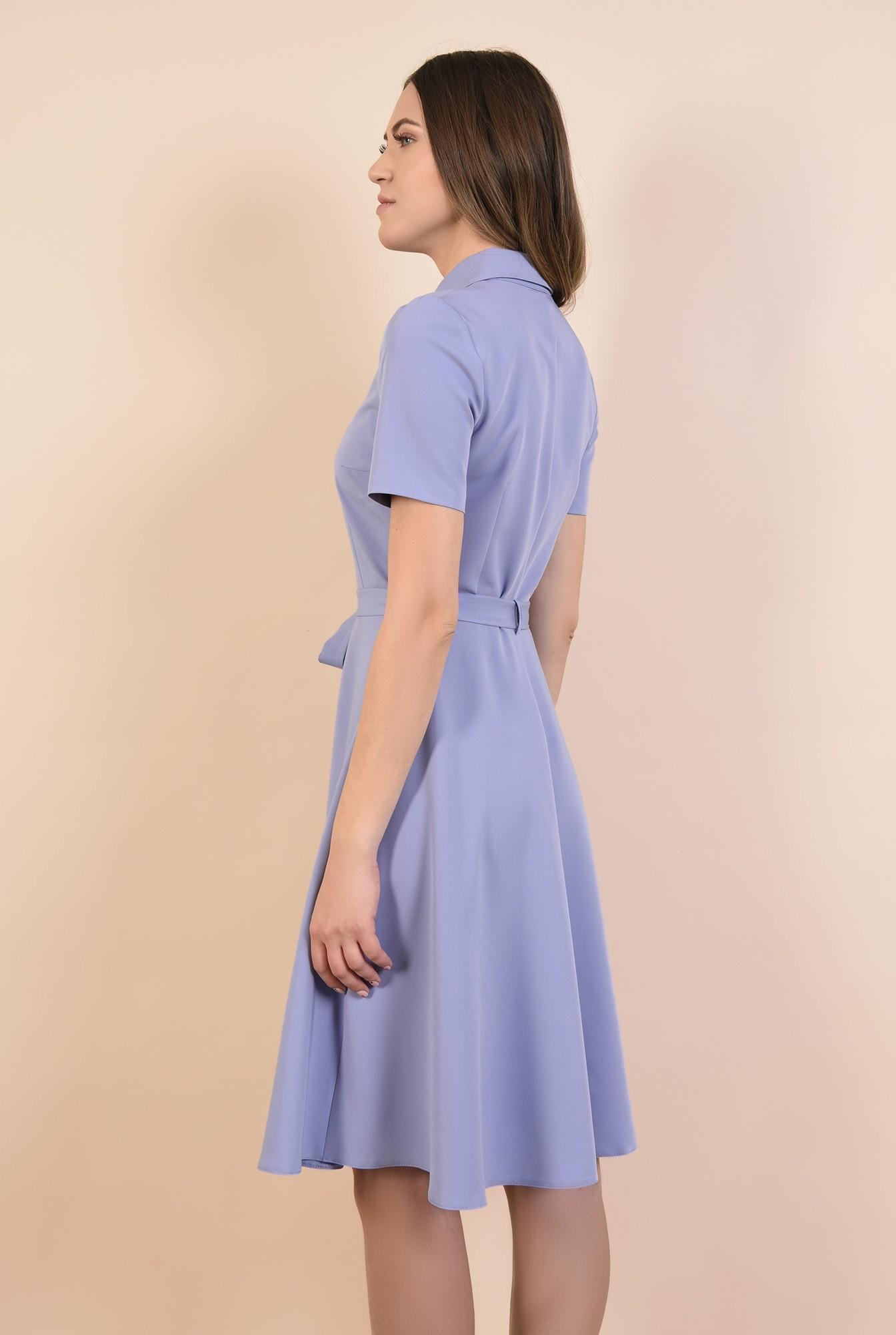 1 - rochie lila, de zi, evazata, midi, inchidere cu nasturi asortati