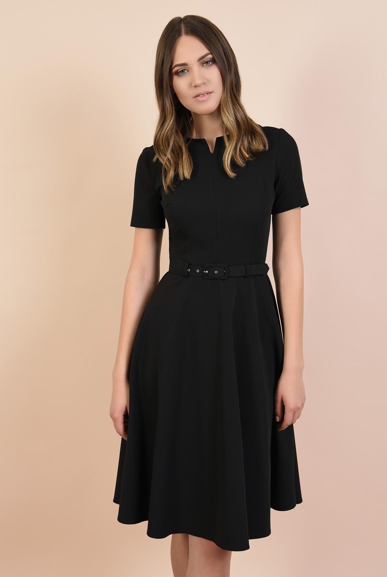 2 - rochie neagra, midi, bie, maneci scurte, decolteu la baza gatului