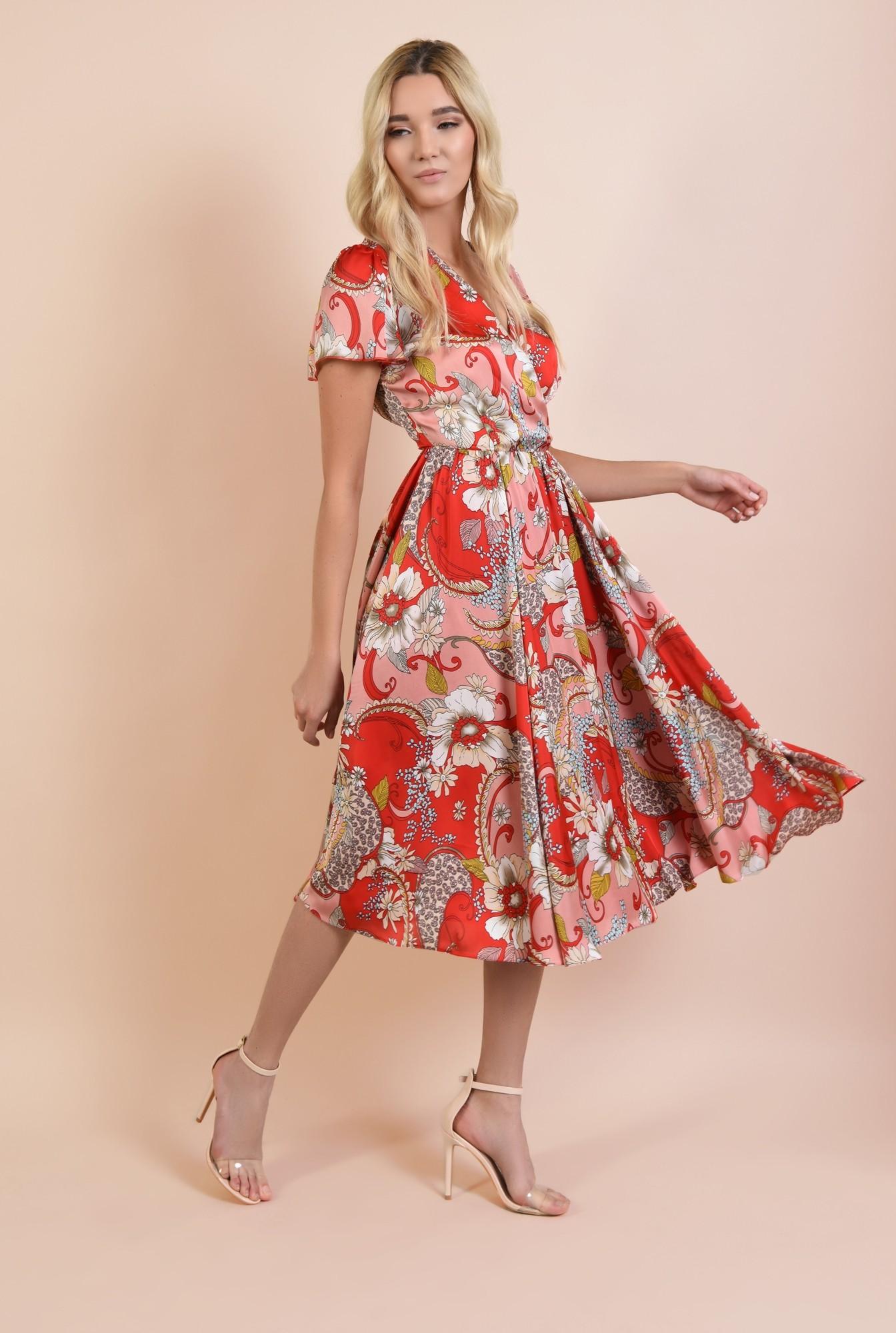 3 - rochie de seara, Poema, cu imprimeu floral, cu maneci fluture, clos