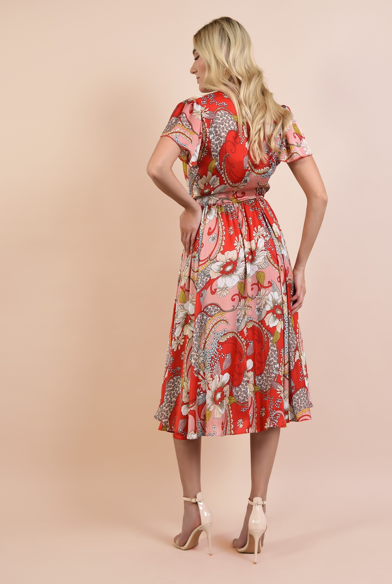 1 - rochie de seara, Poema, cu imprimeu floral, cu maneci fluture, clos