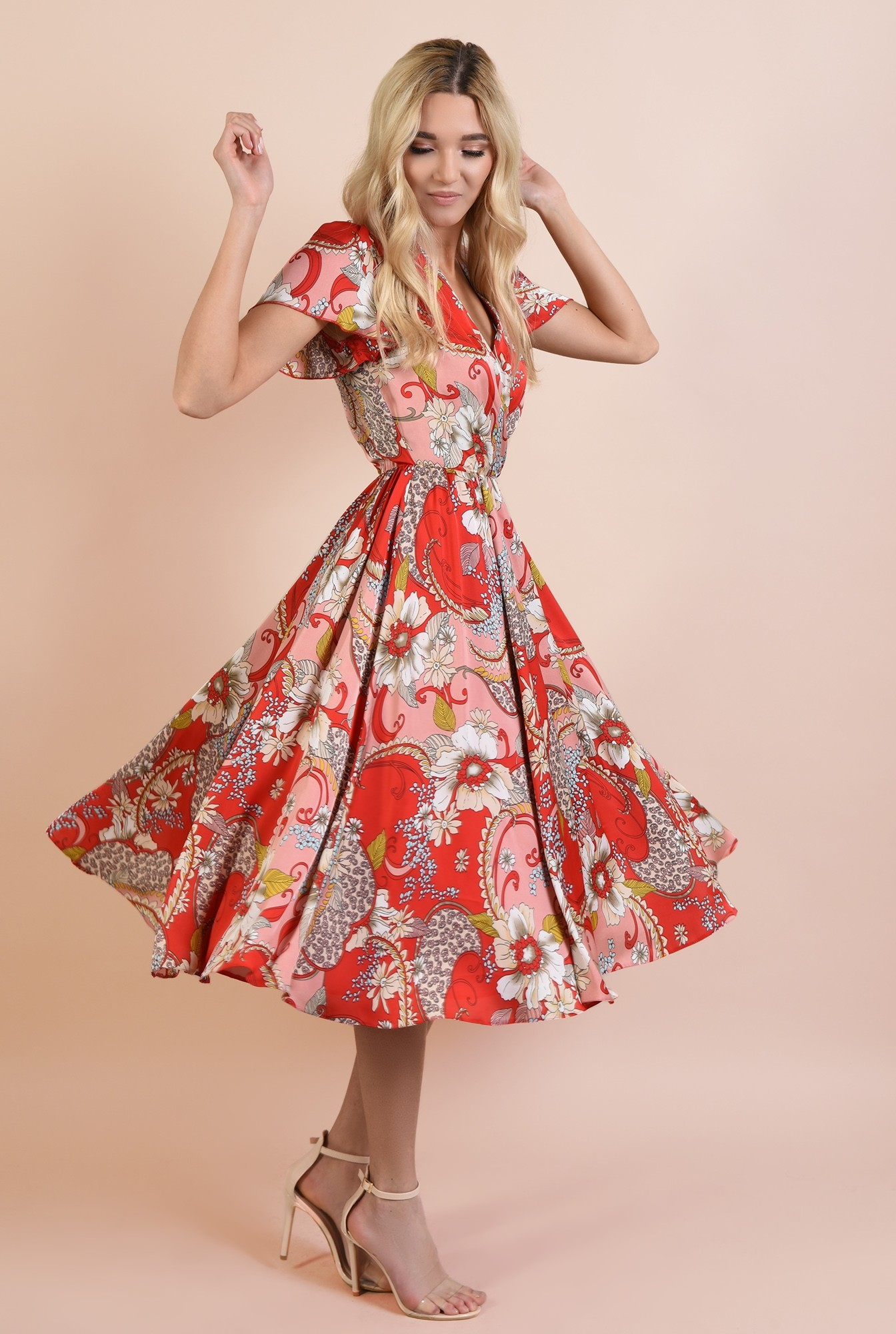 0 - rochie de seara, Poema, cu imprimeu floral, cu maneci fluture, clos