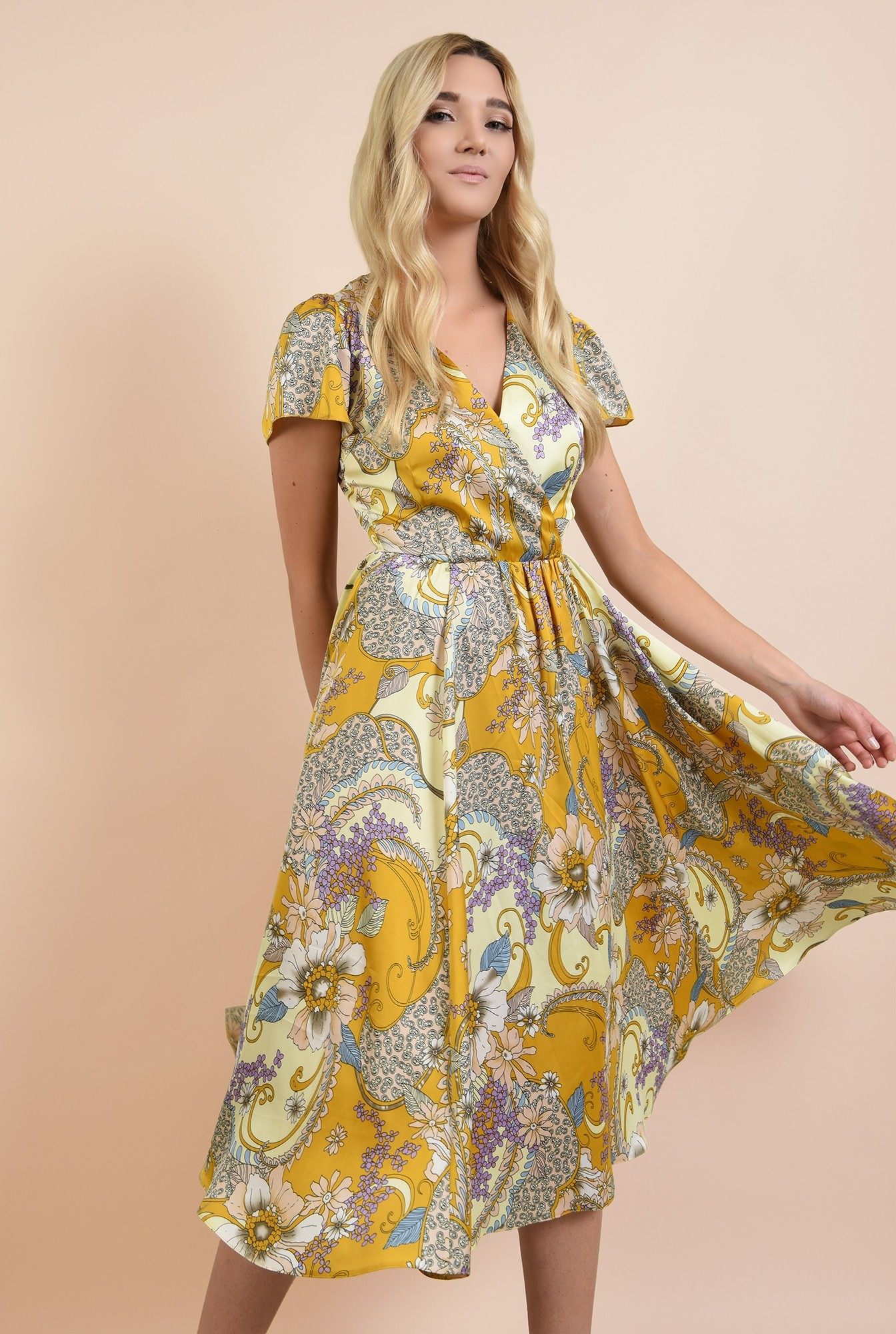 0 - rochie de seara, clos, cu flori, anchior petrecut, maneci fluture
