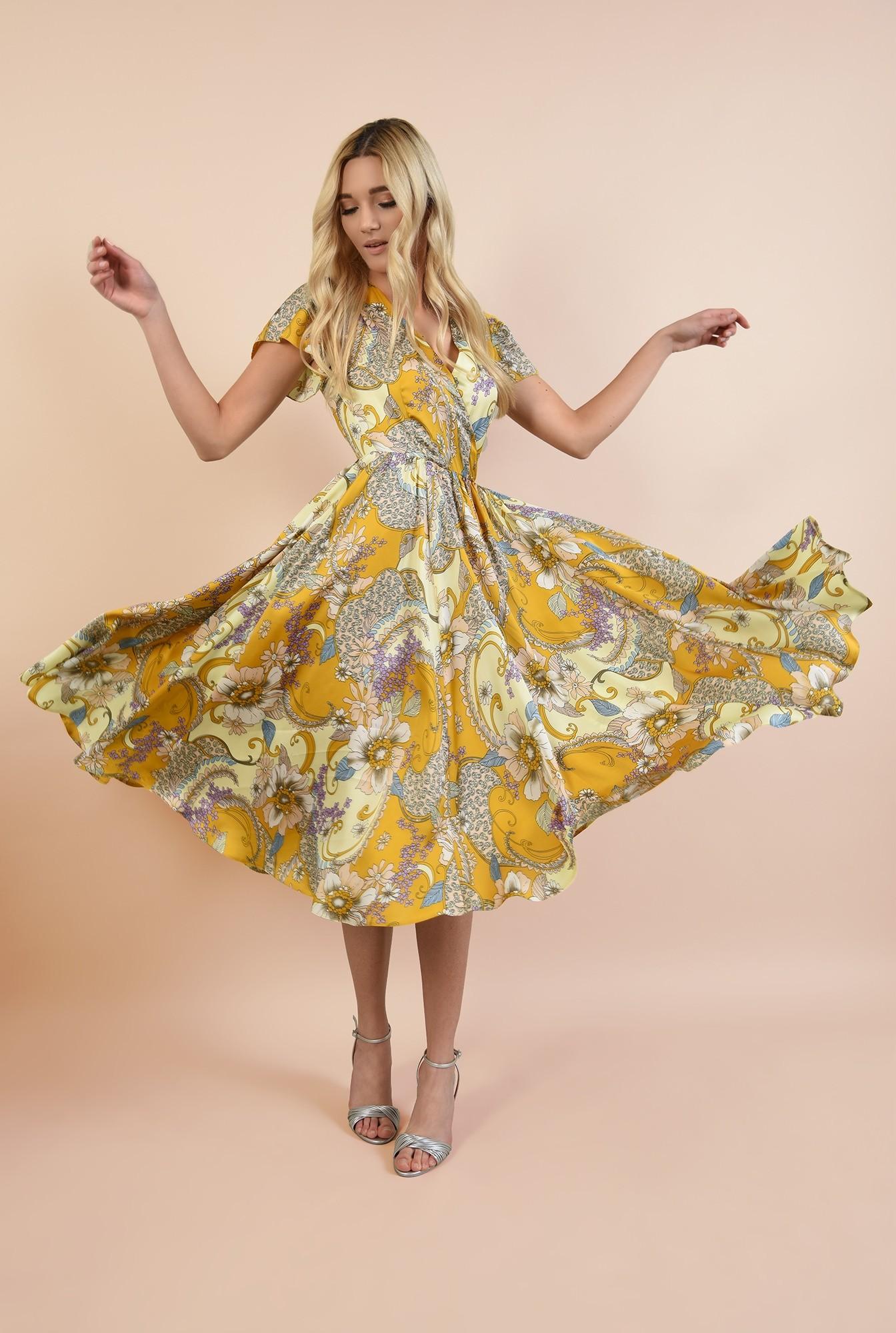 3 - rochie de seara, clos, cu flori, anchior petrecut, maneci fluture